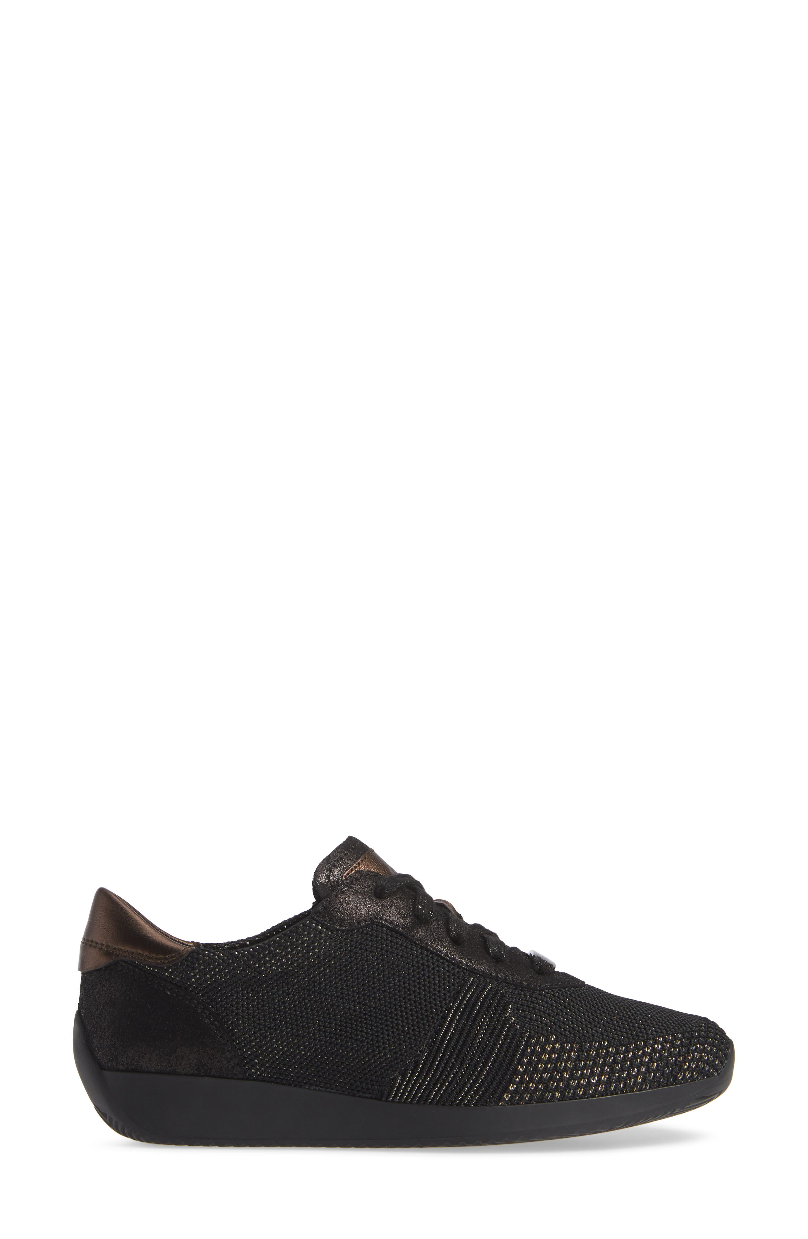 Lilly Sneaker,                             Alternate thumbnail 3, color,                             BLACK/ BLACK LEATHER