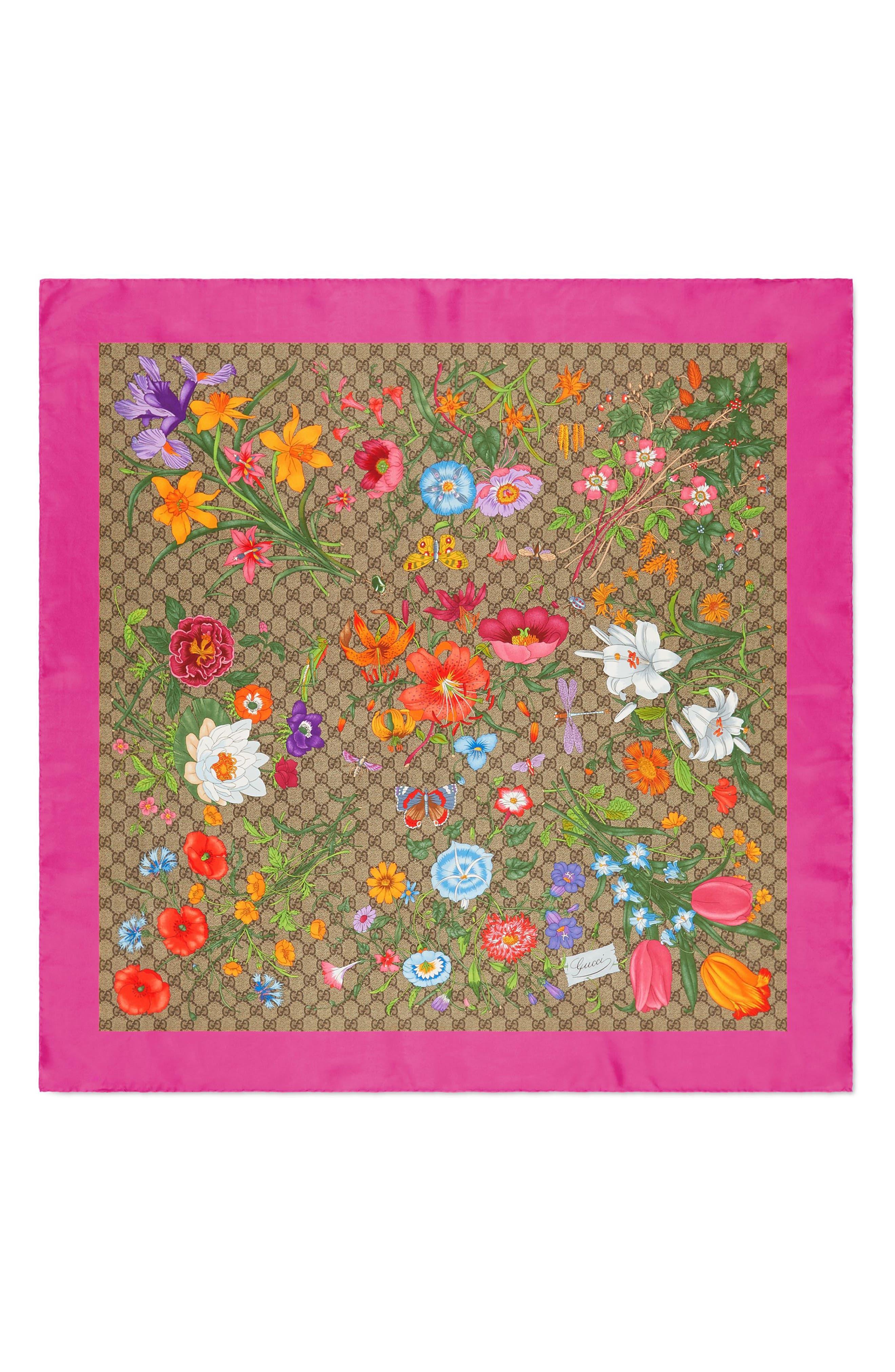 GG Flora Fluorescent Border Silk Scarf,                         Main,                         color, BEIGE/ PINK
