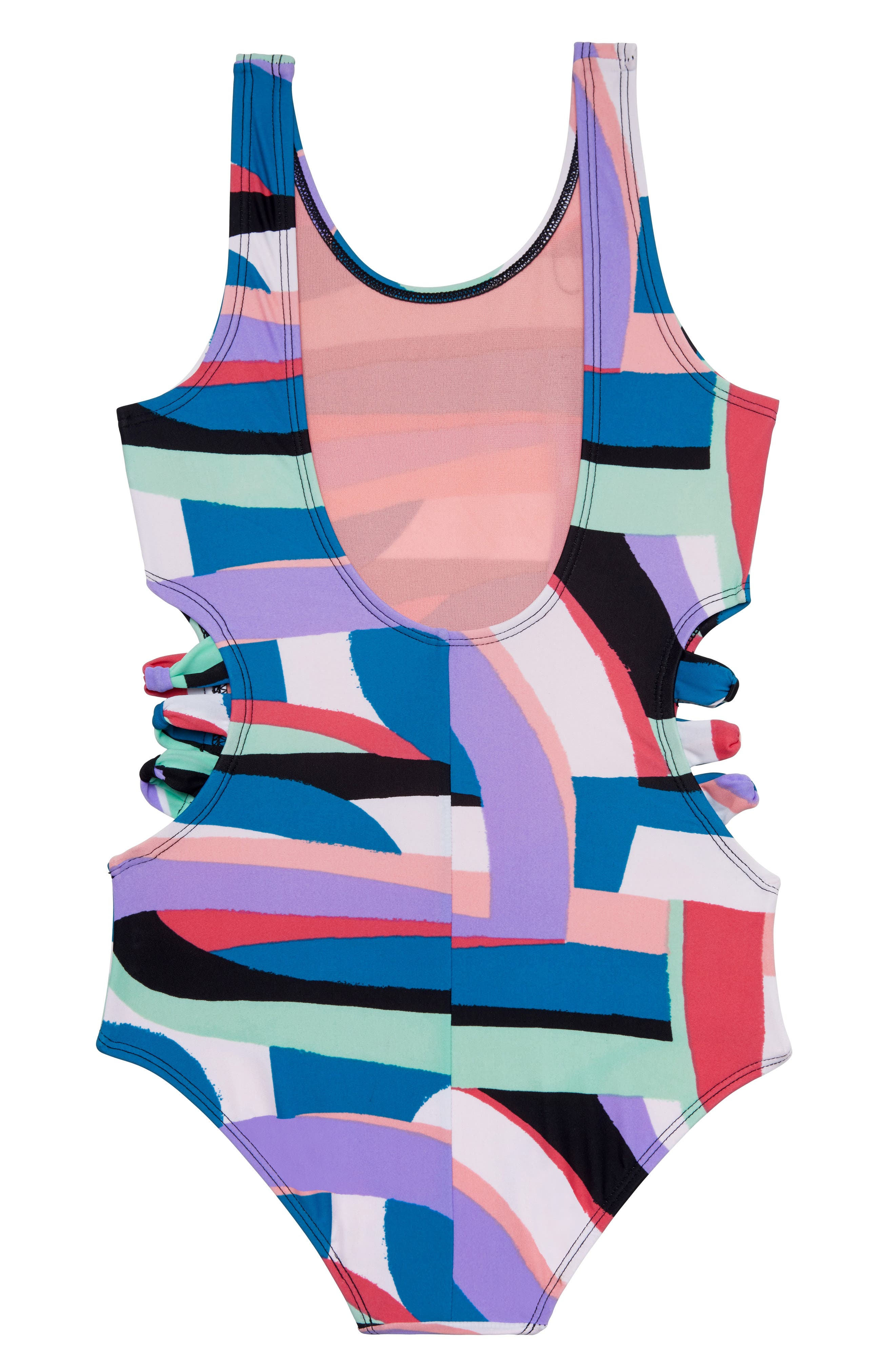 Flying Rainbow One-Piece Swimsuit,                             Alternate thumbnail 2, color,                             BLACK/ MULTI