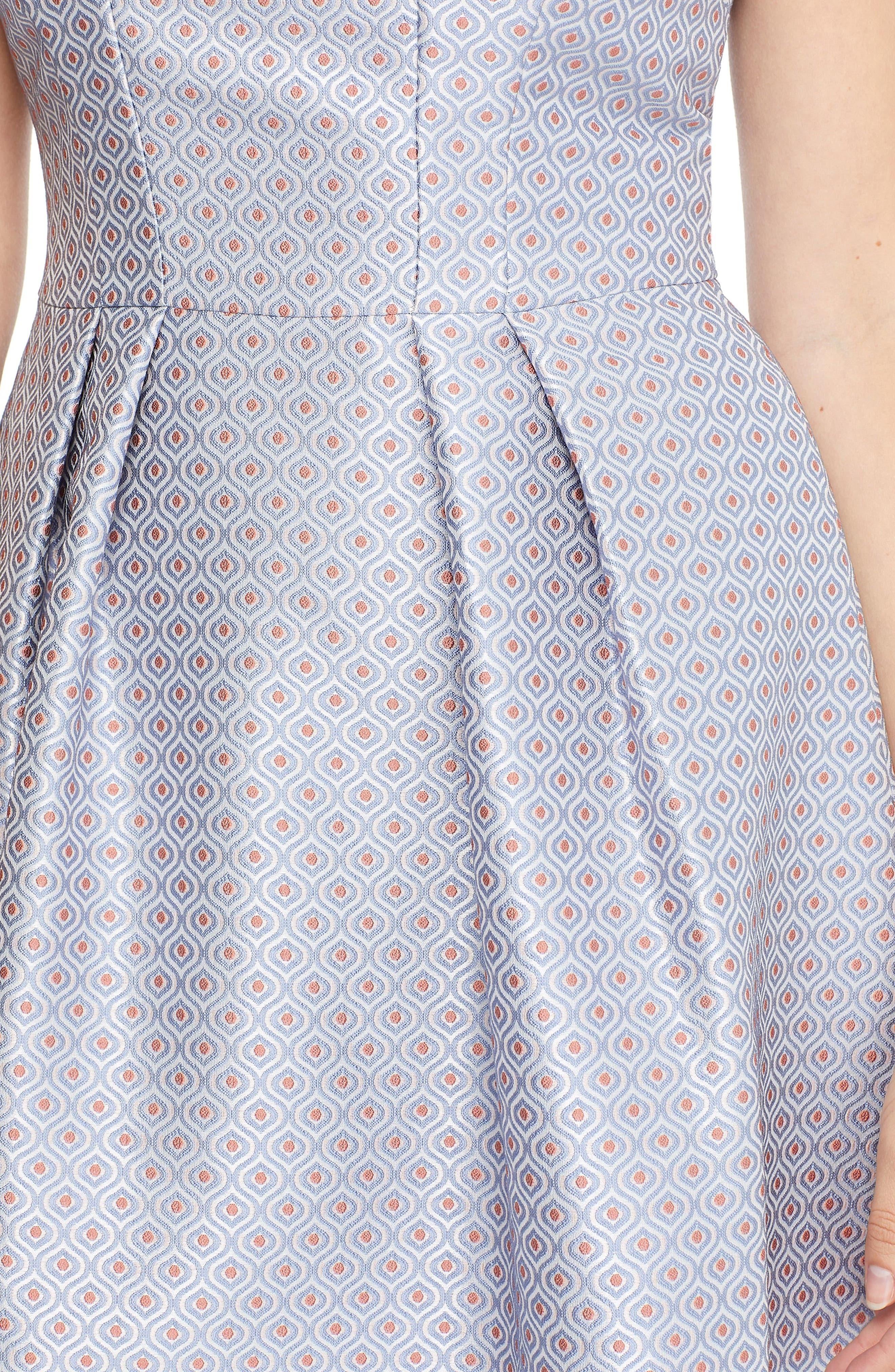 Cosette Jacquard Fit & Flare Dress,                             Alternate thumbnail 3, color,                             BLUE MULTI