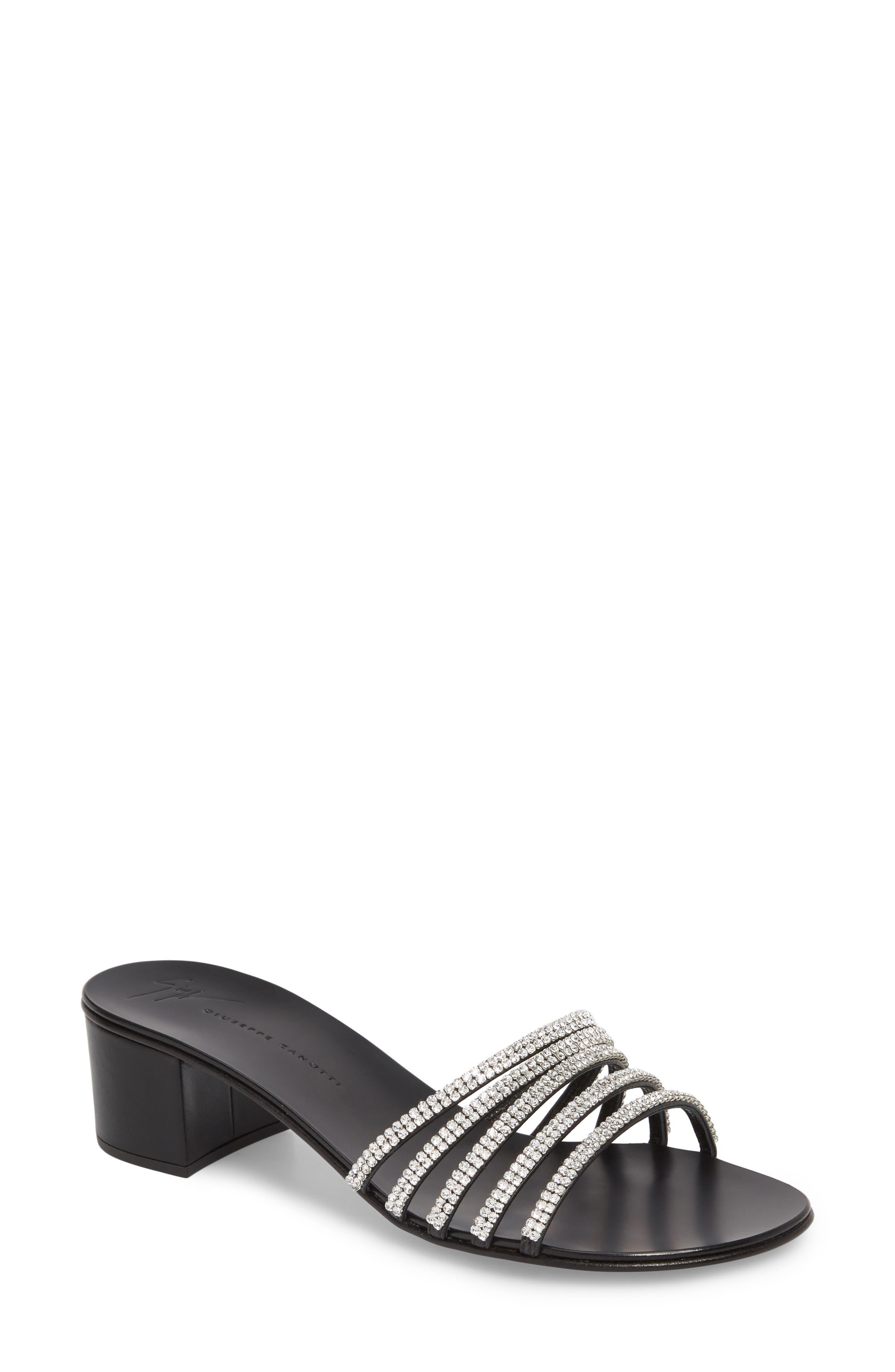 Swarovski Crystal Slide Sandal,                             Main thumbnail 1, color,                             BLACK