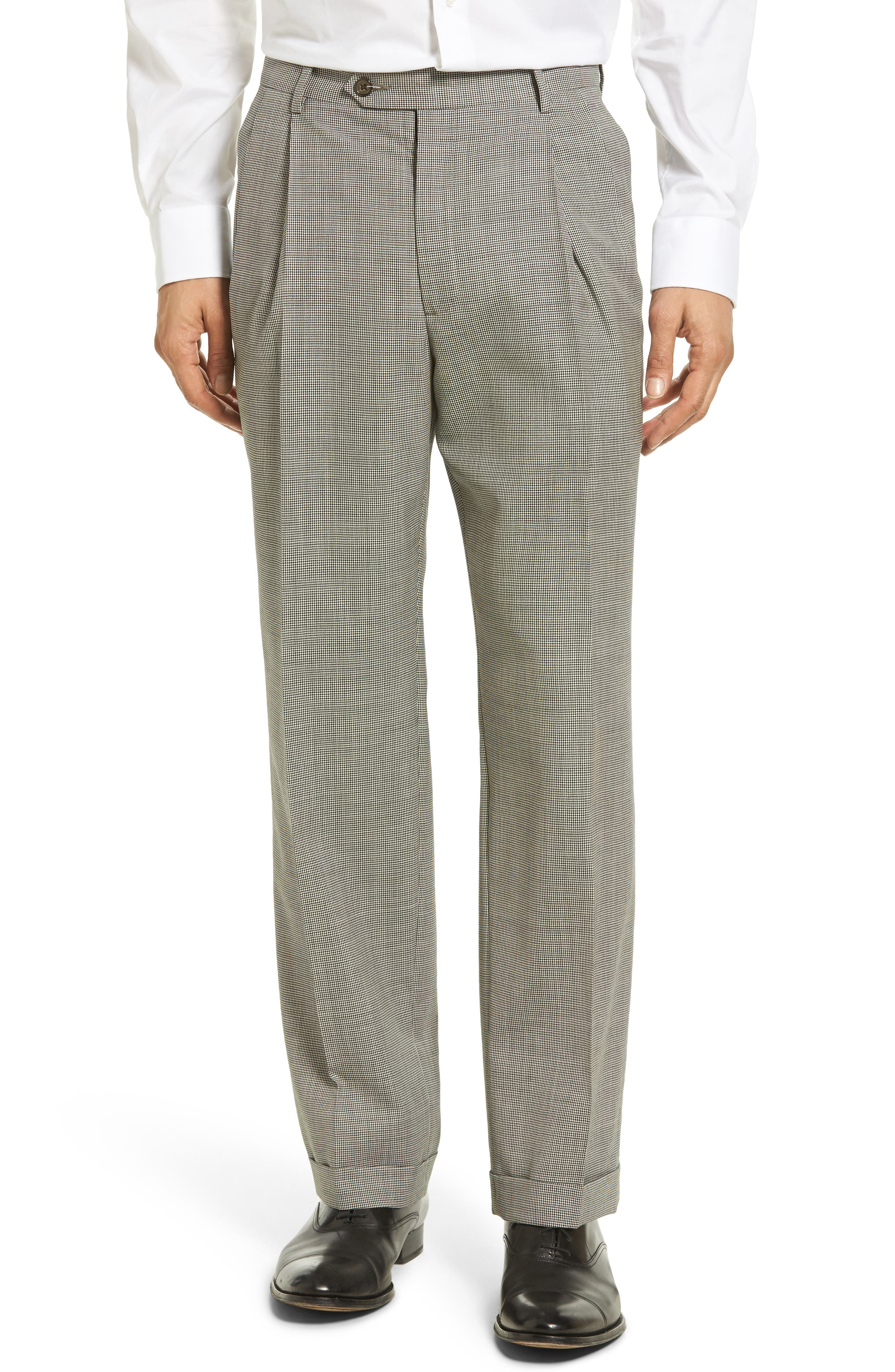 Pleated Houndstooth Wool Trousers,                         Main,                         color, 020