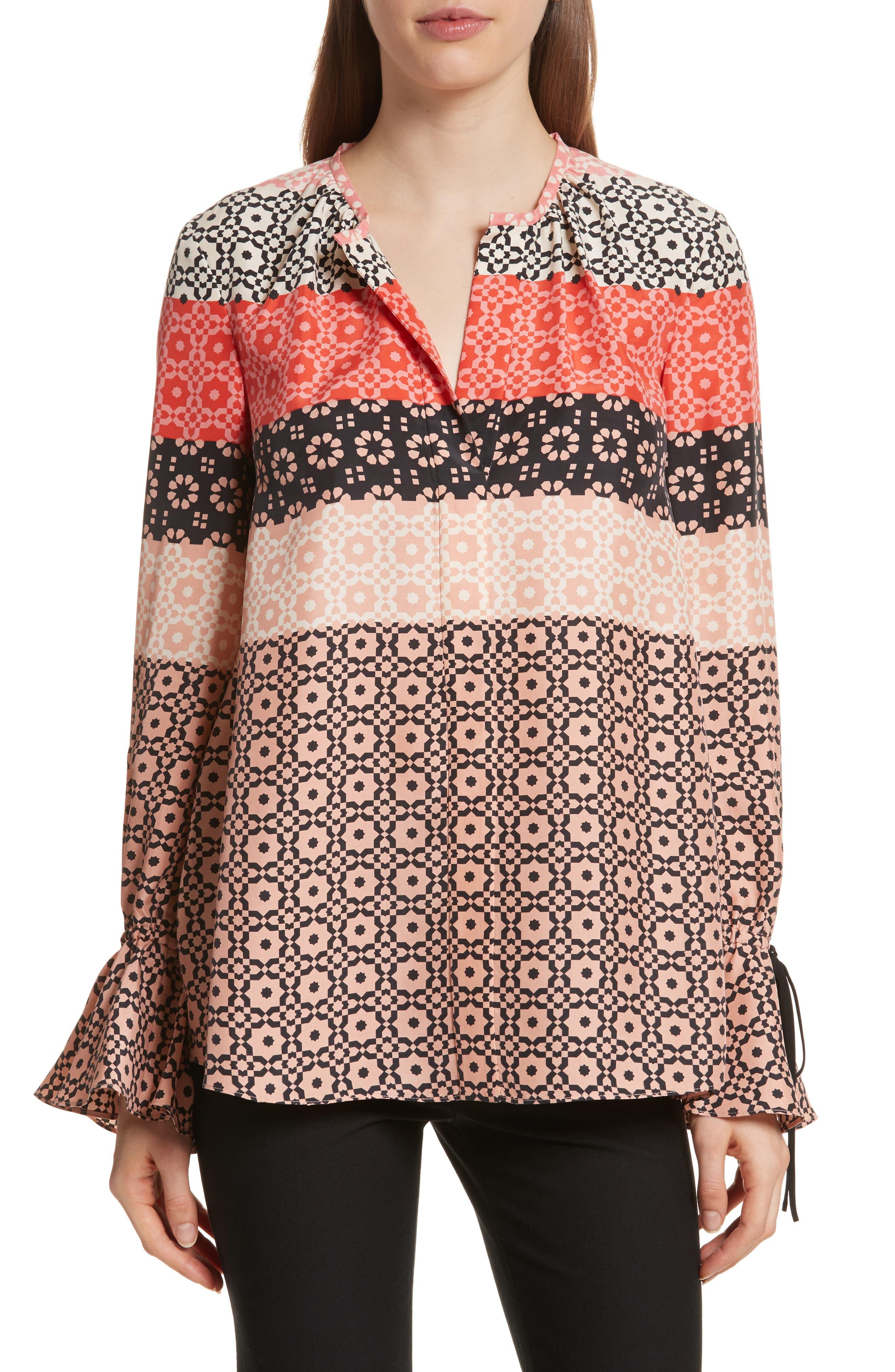 Tie Sleeve Print Silk Blouse,                         Main,                         color, 681