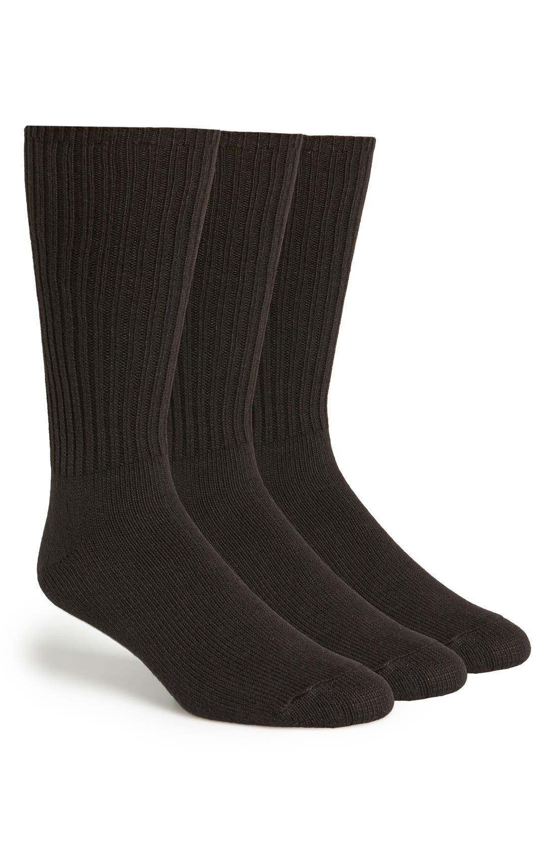 3-Pack Casual Socks,                             Main thumbnail 1, color,                             BLACK