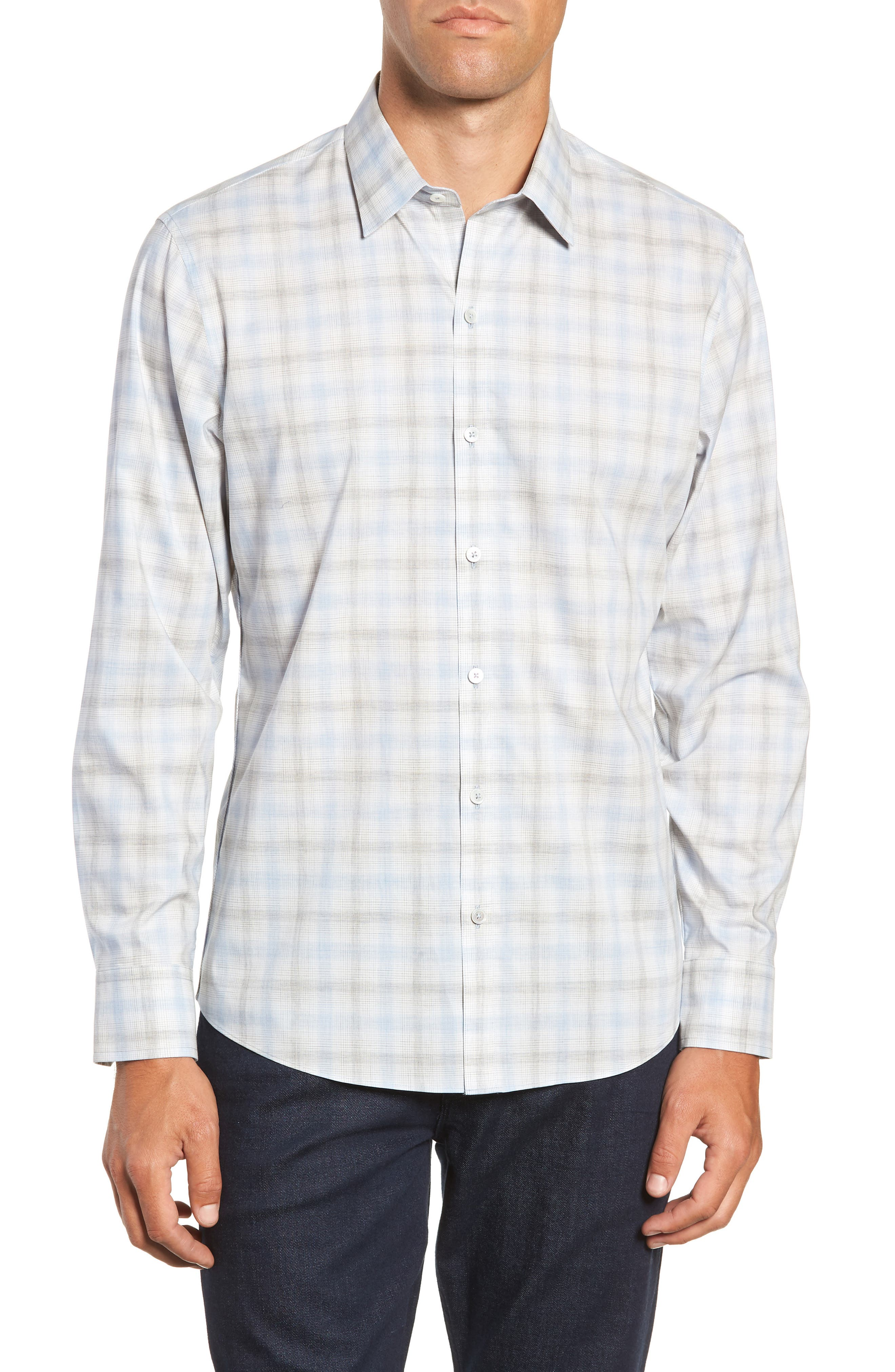Mourad Regular Fit Sport Shirt,                             Main thumbnail 1, color,                             LIGHT GREY