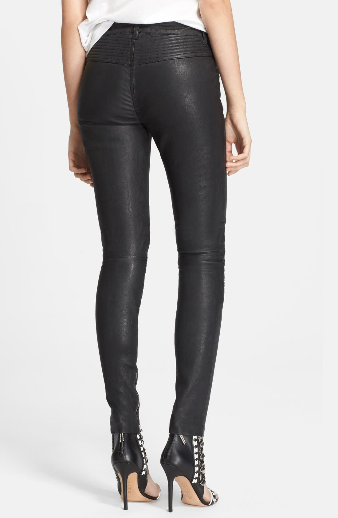 Leather Motorcycle Pants,                             Alternate thumbnail 3, color,                             001