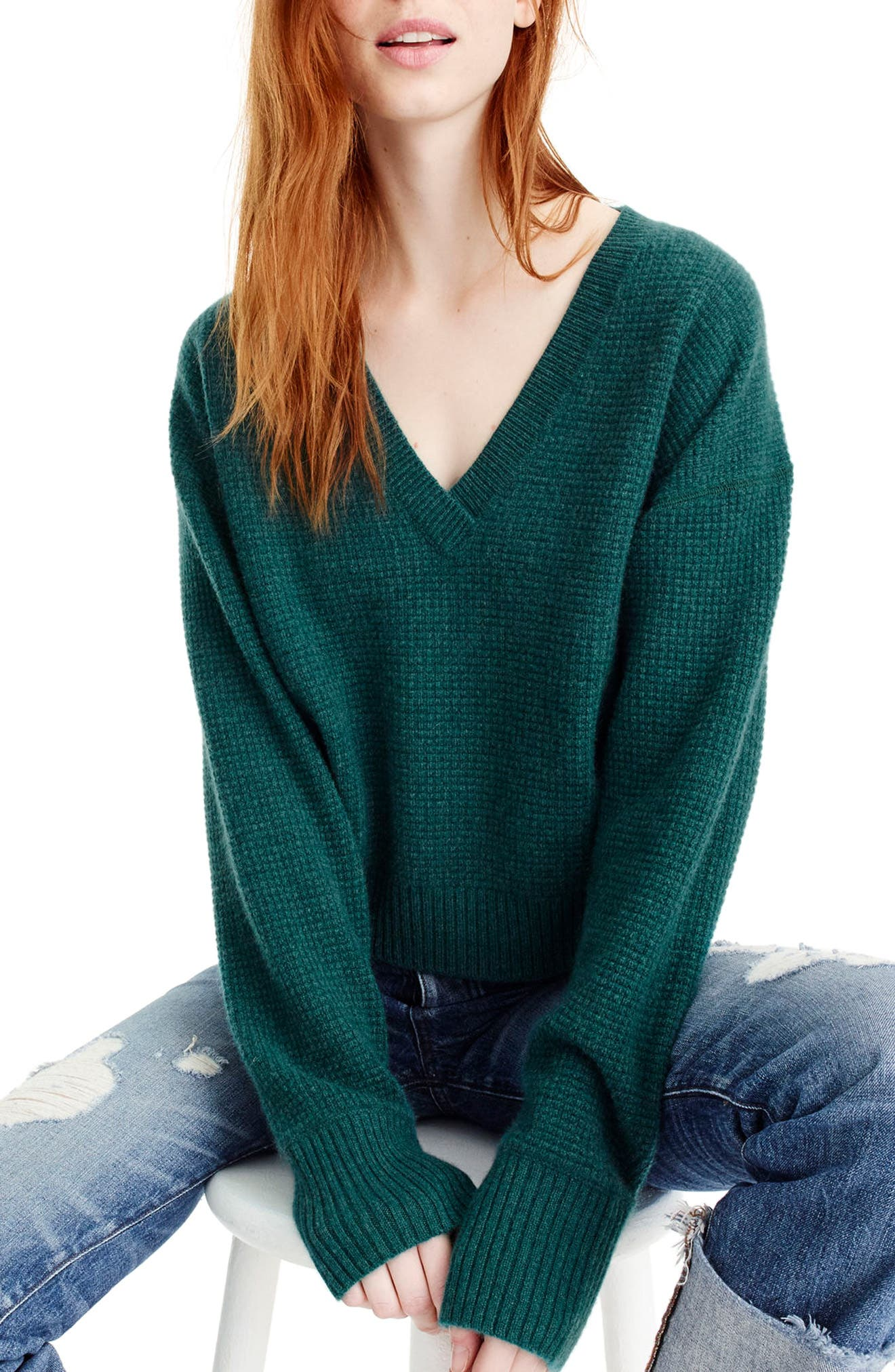 V-Neck Crop Thermal Cashmere Sweater,                             Main thumbnail 2, color,