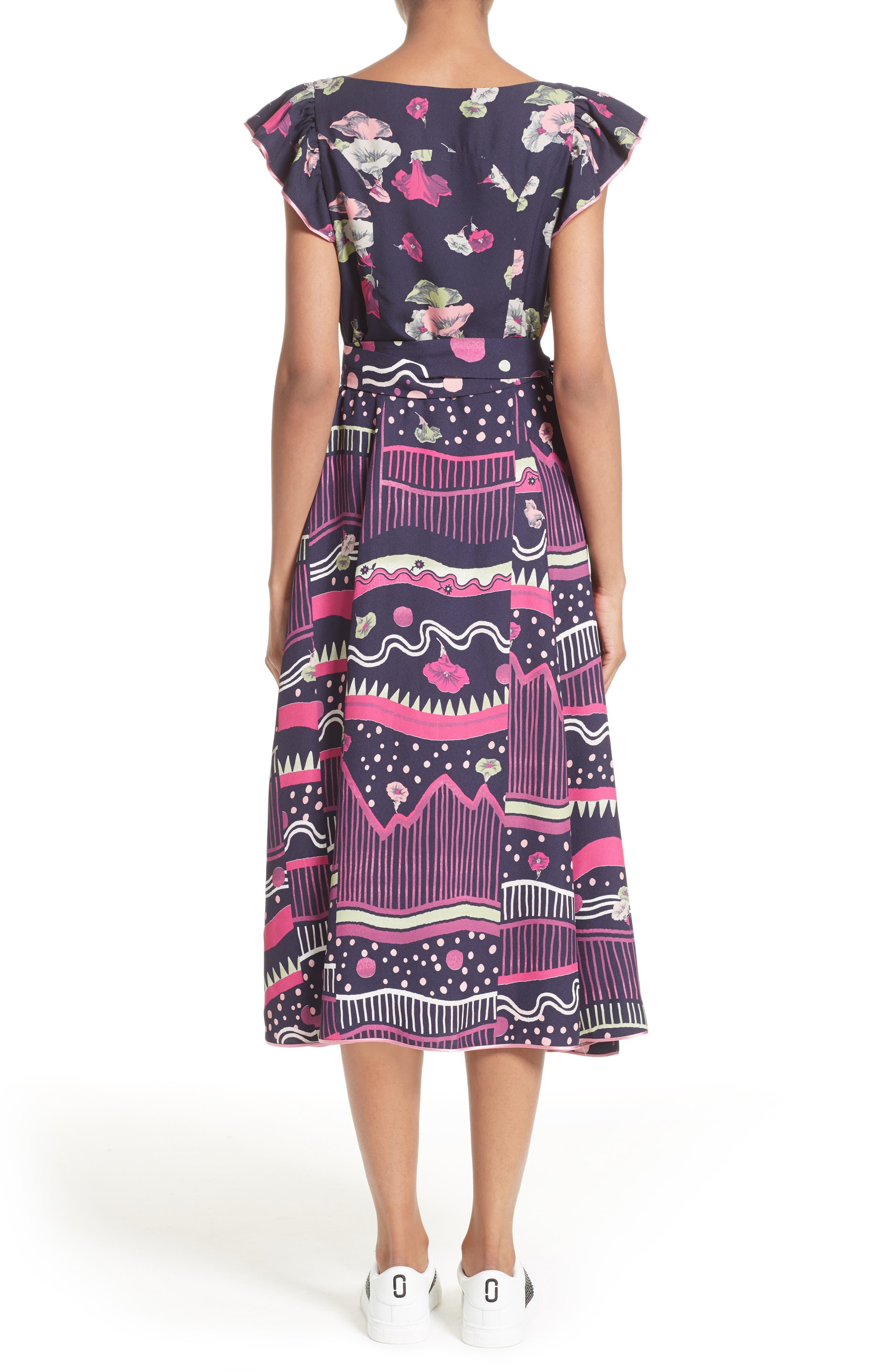 Glories Crepe Back Satin Midi Wrap Dress,                             Alternate thumbnail 2, color,                             411