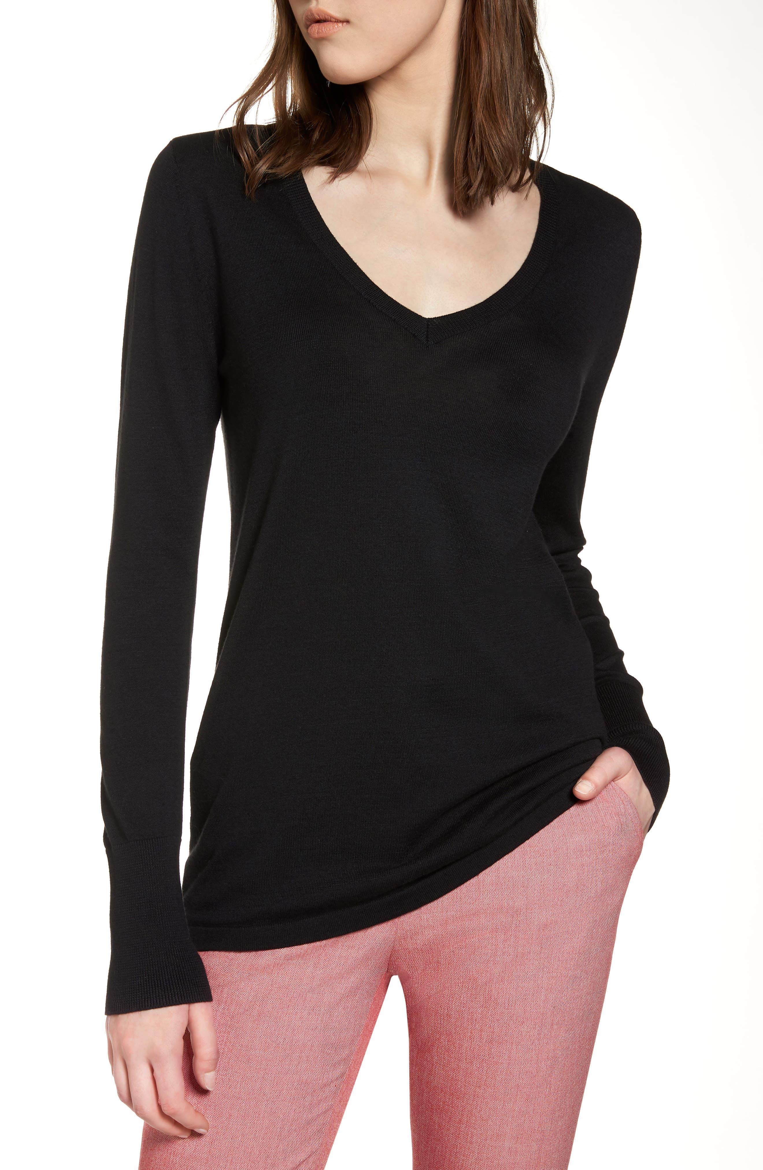 Cotton Blend V-Neck Sweater,                             Main thumbnail 1, color,                             001
