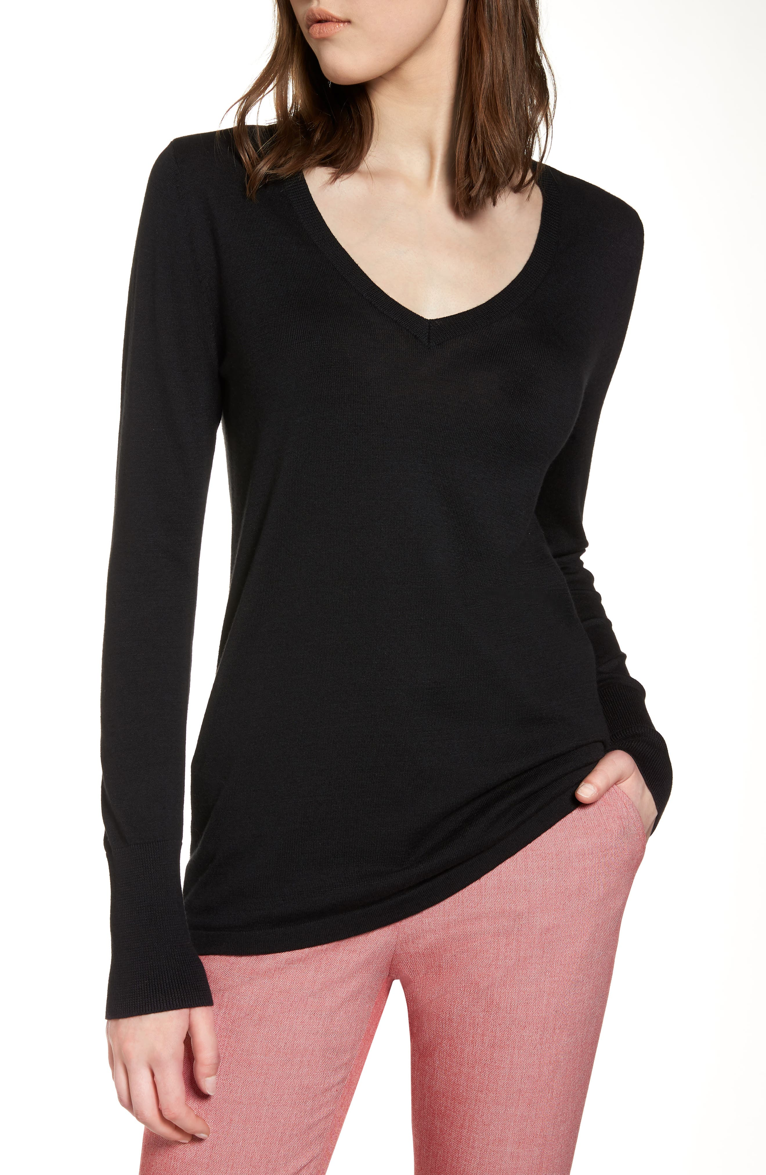 Cotton Blend V-Neck Sweater,                         Main,                         color, 001