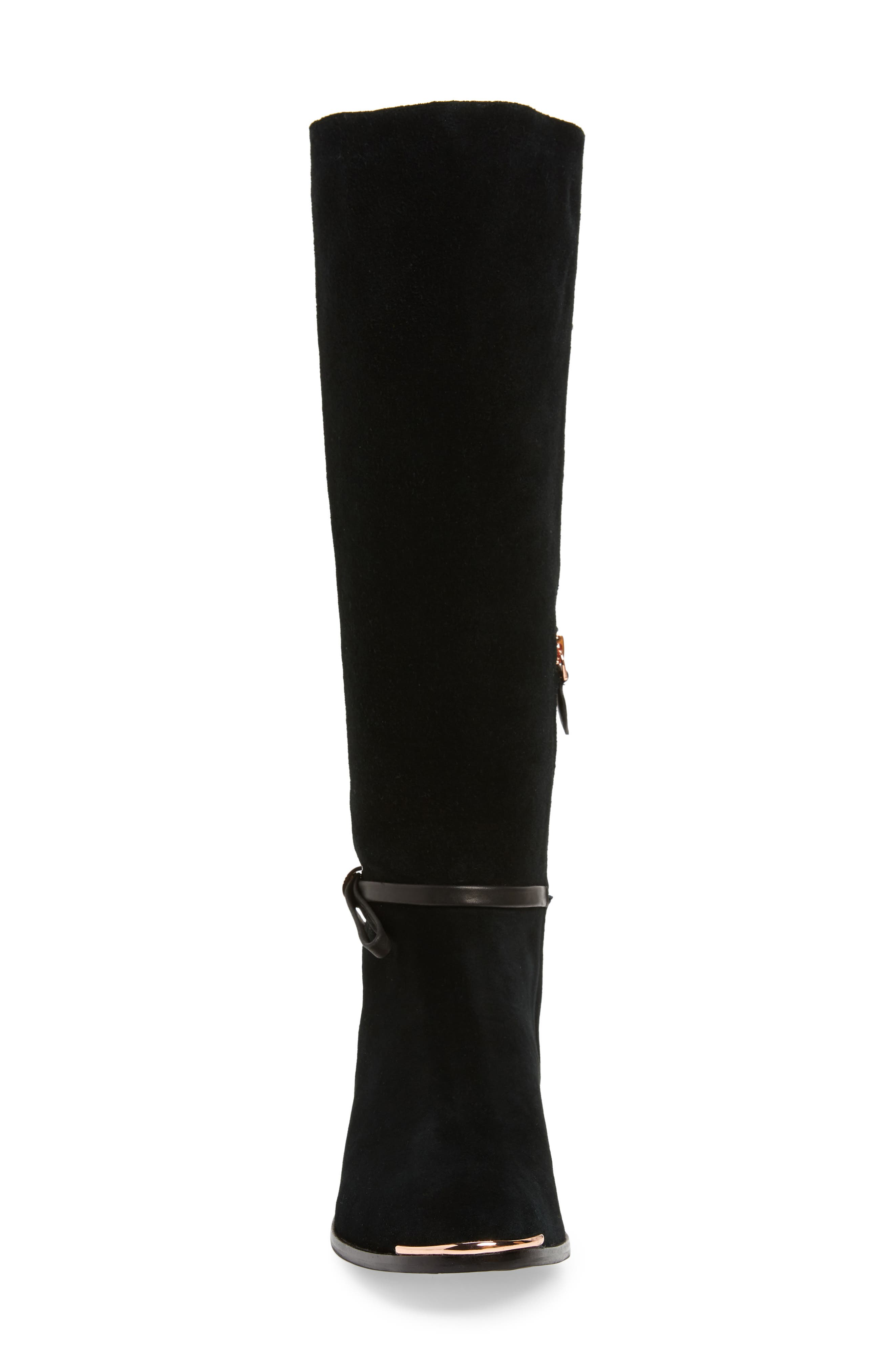 Lykla Knee High Boot,                             Alternate thumbnail 4, color,                             BLACK SUEDE