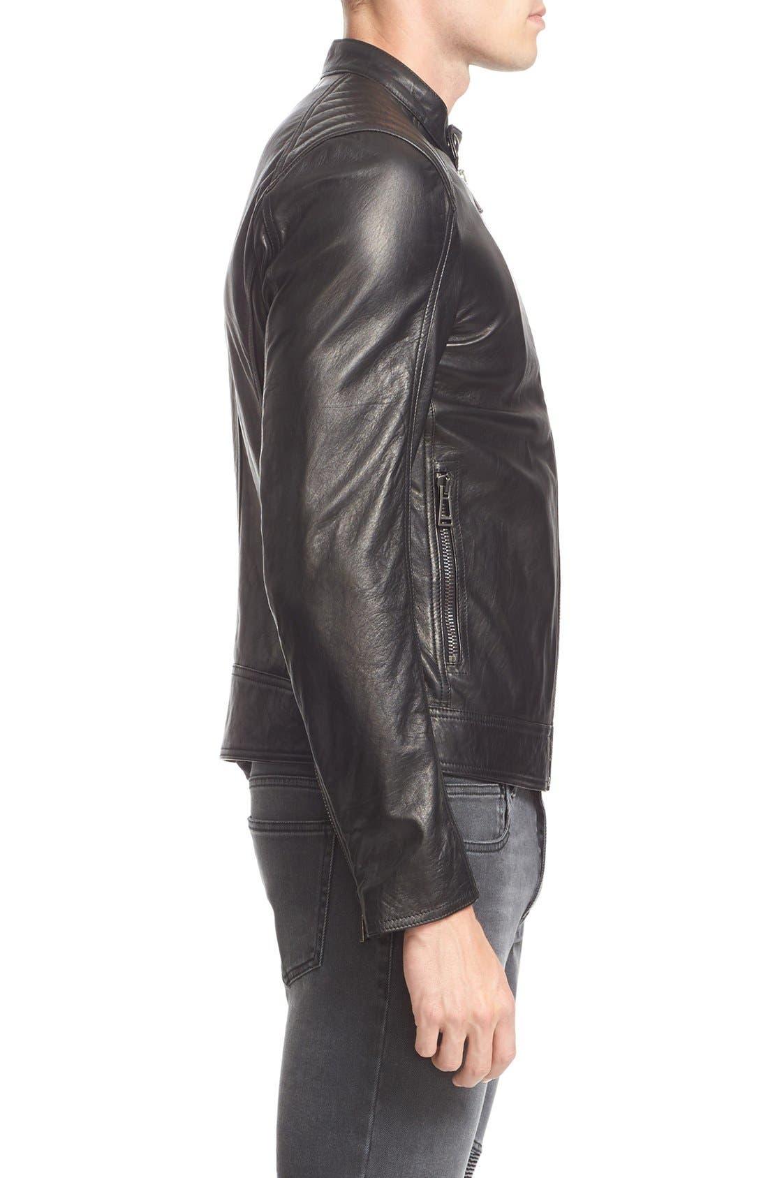 V Racer Leather Jacket,                             Alternate thumbnail 5, color,                             BLACK