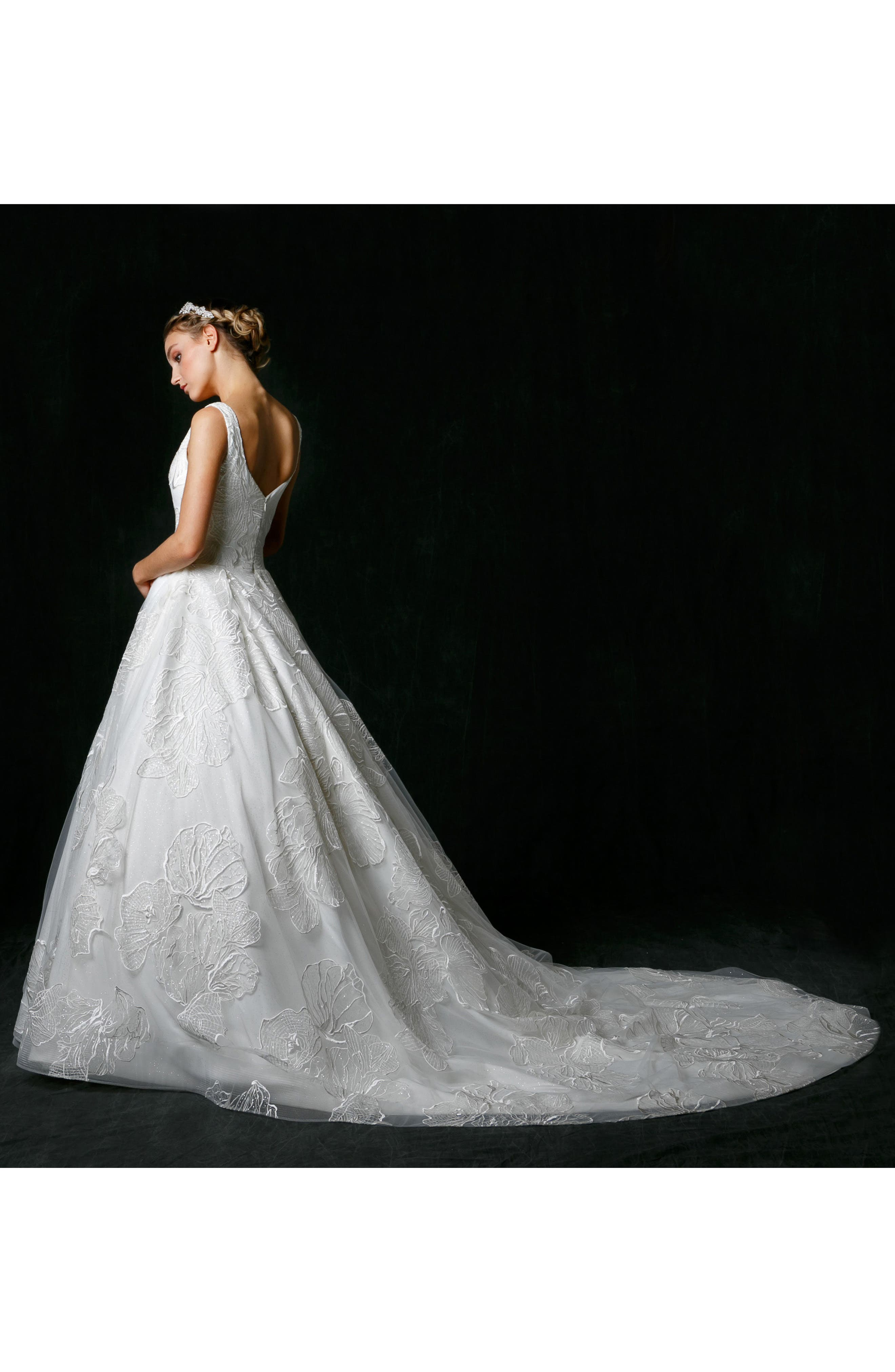 Alessandra Plunge Ballgown,                             Alternate thumbnail 5, color,                             IVORY