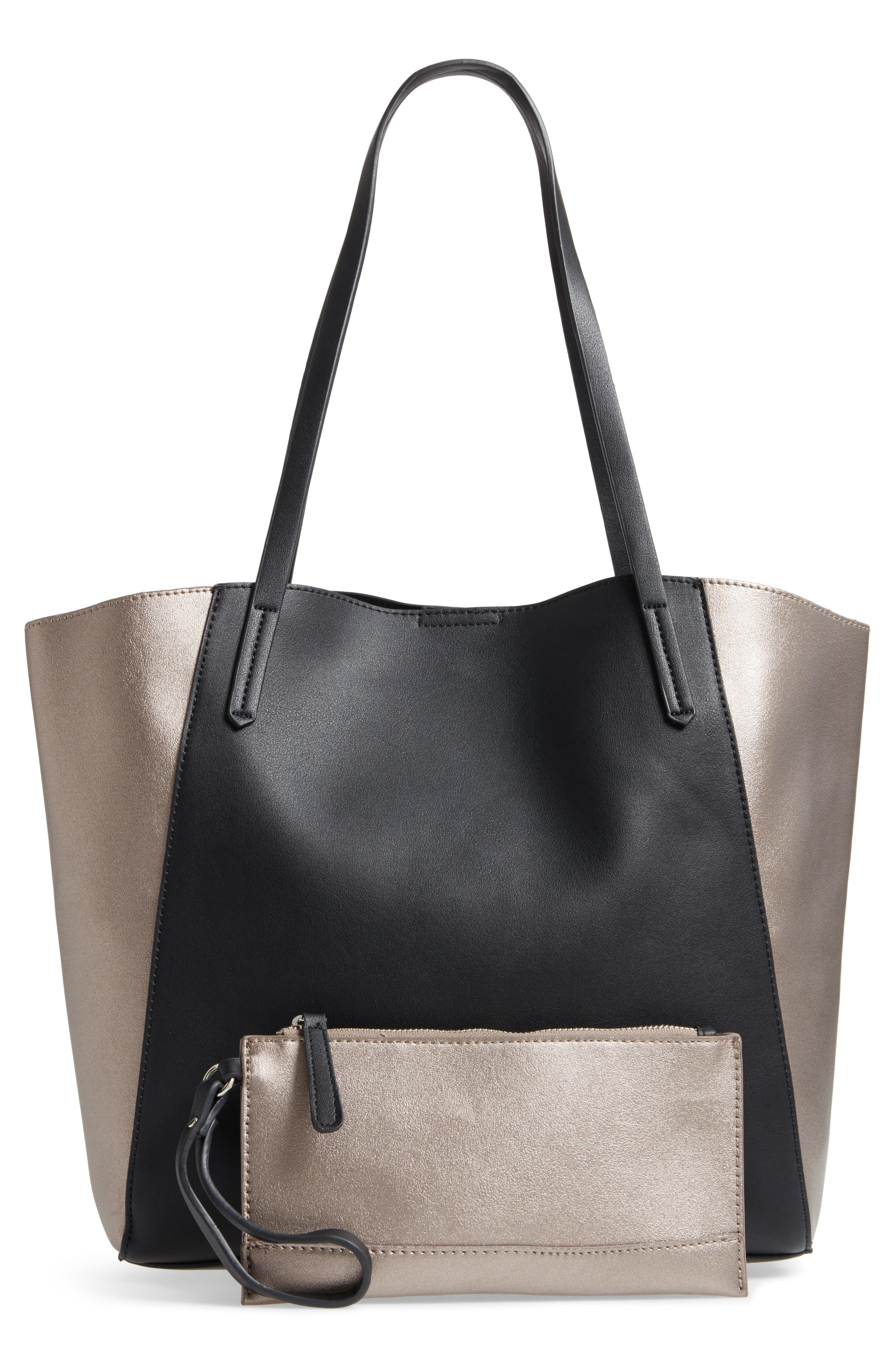 Colorblock Faux Leather Tote,                             Alternate thumbnail 3, color,                             041