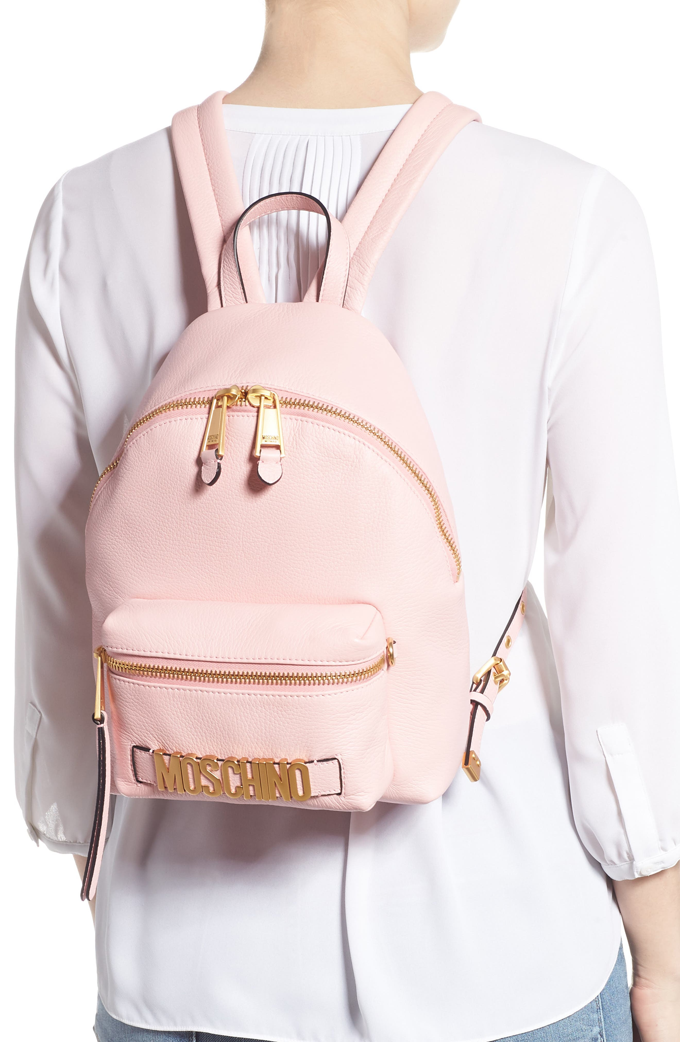 MOSCHINO,                             Logo Leather Backpack,                             Alternate thumbnail 2, color,                             PINK