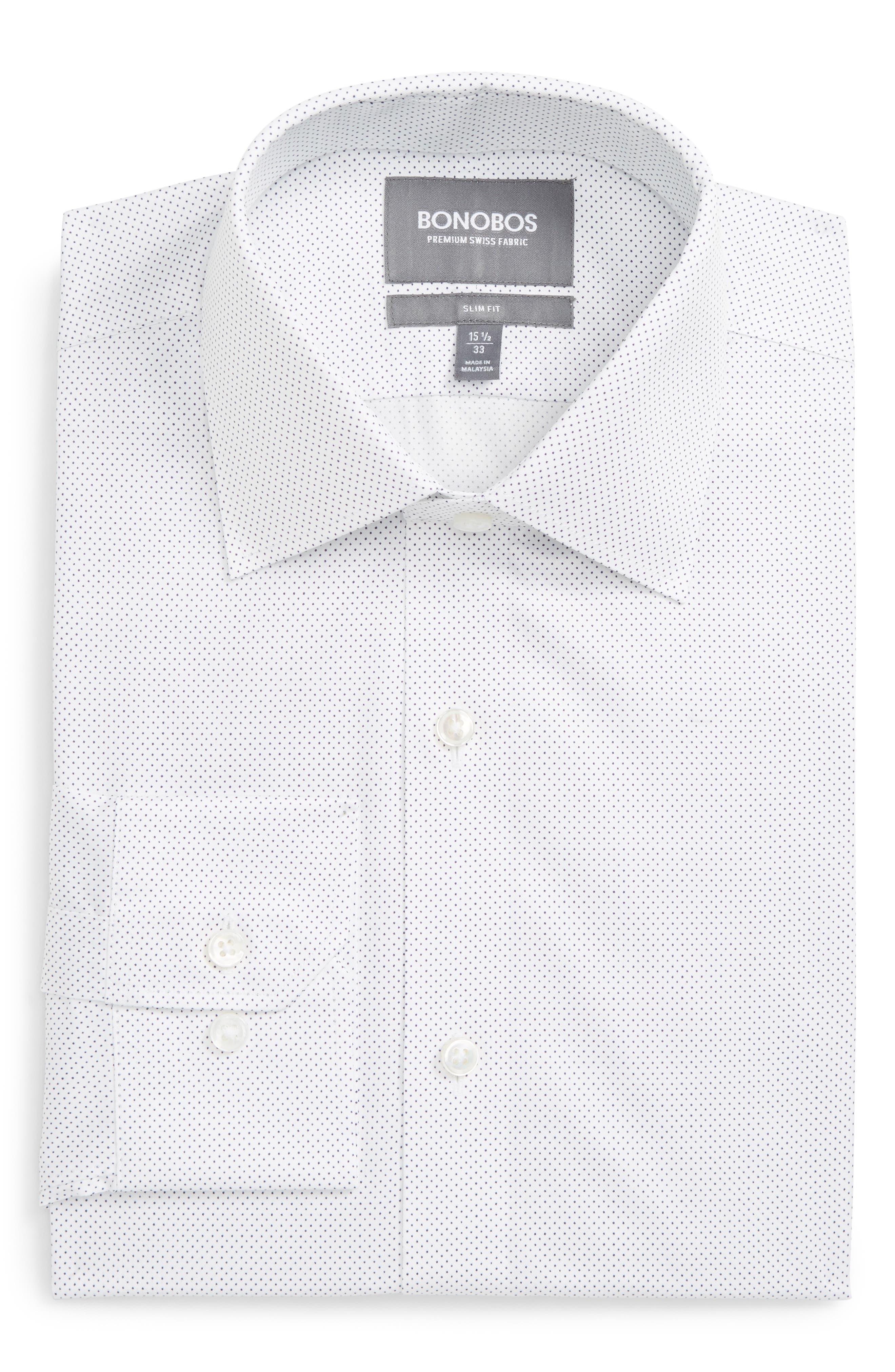 BONOBOS Zino Trim Fit Dot Dress Shirt, Main, color, 400