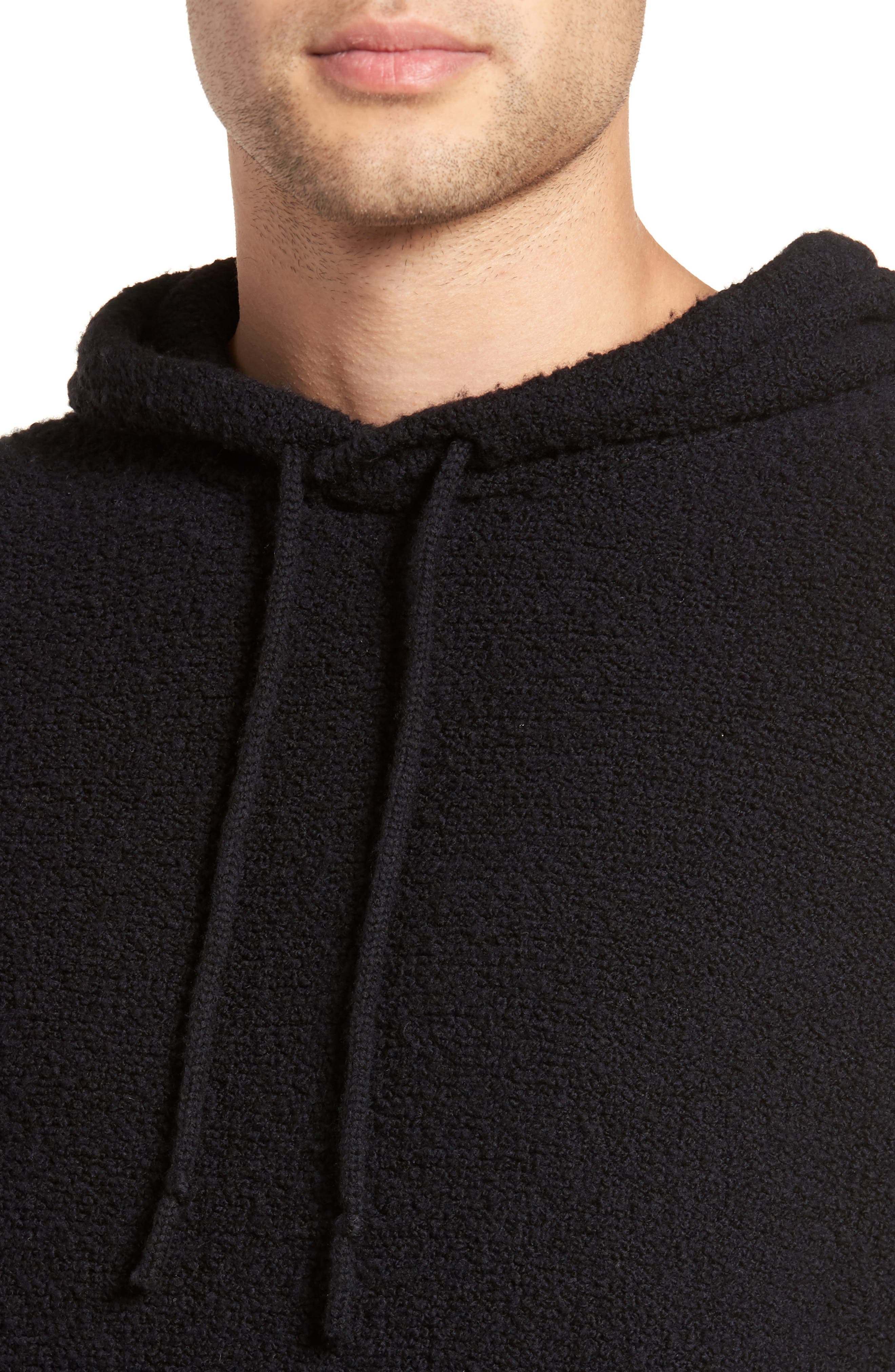 Wool Fleece Pullover Hoodie,                             Alternate thumbnail 4, color,                             BLACK