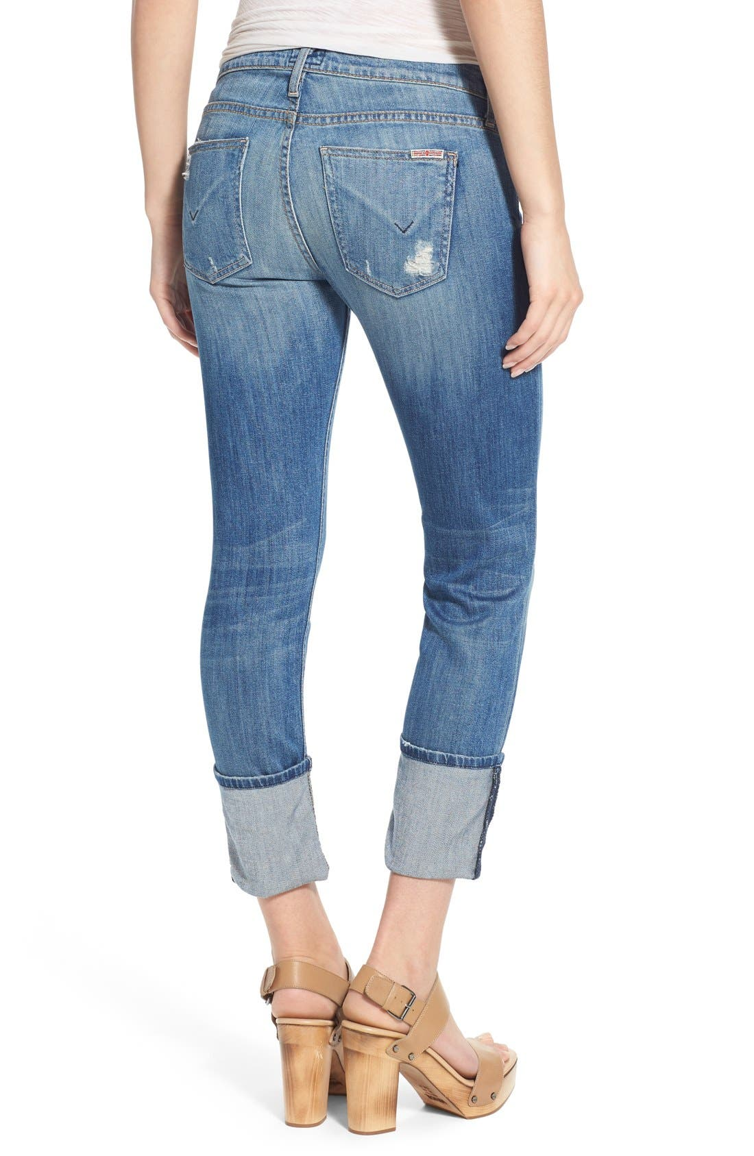 'Muse' Cuff Crop Jeans,                             Alternate thumbnail 6, color,                             INDIE