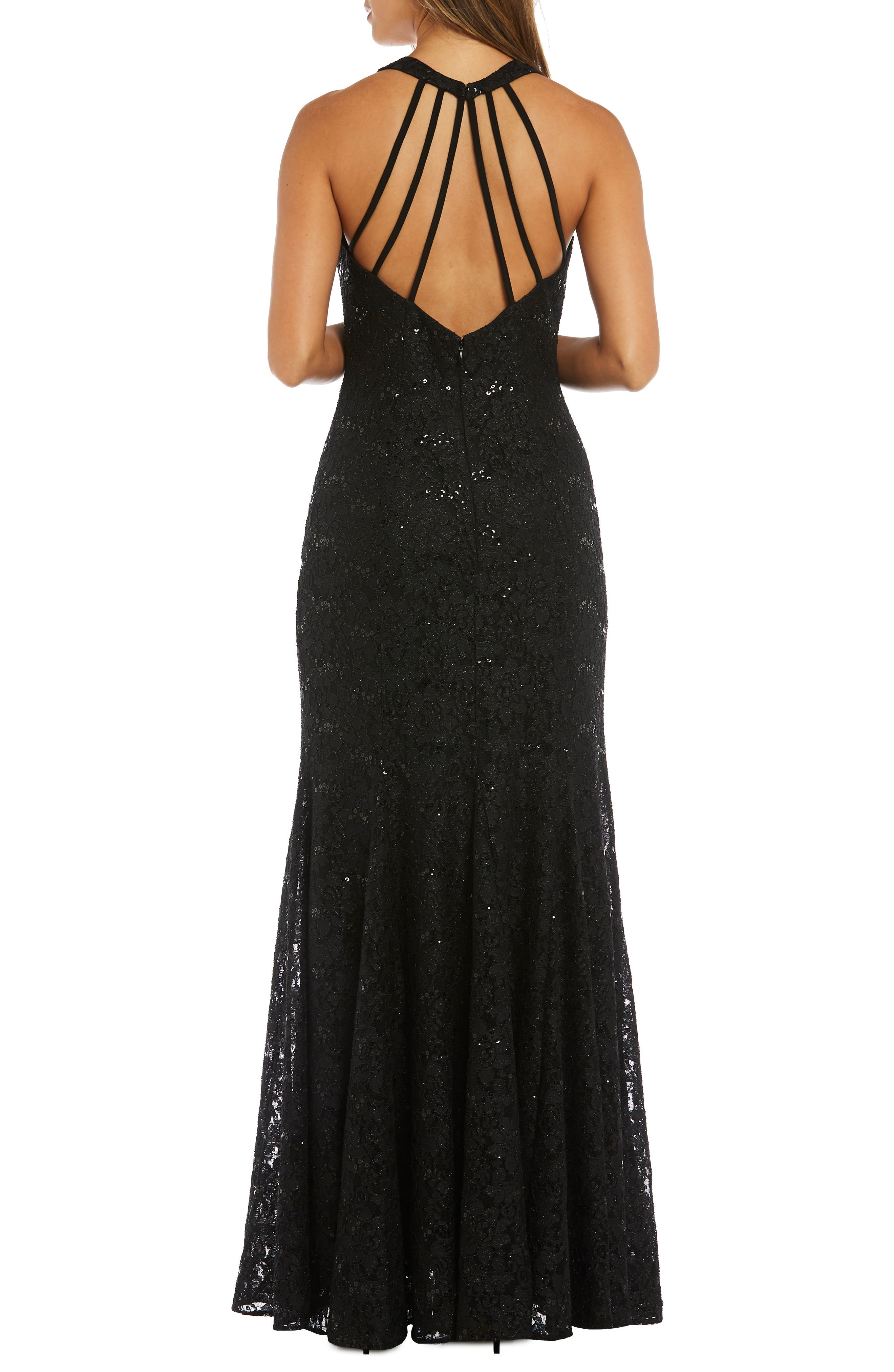 MORGAN & CO.,                             Strappy Back Sequin Lace Gown,                             Alternate thumbnail 2, color,                             BLACK
