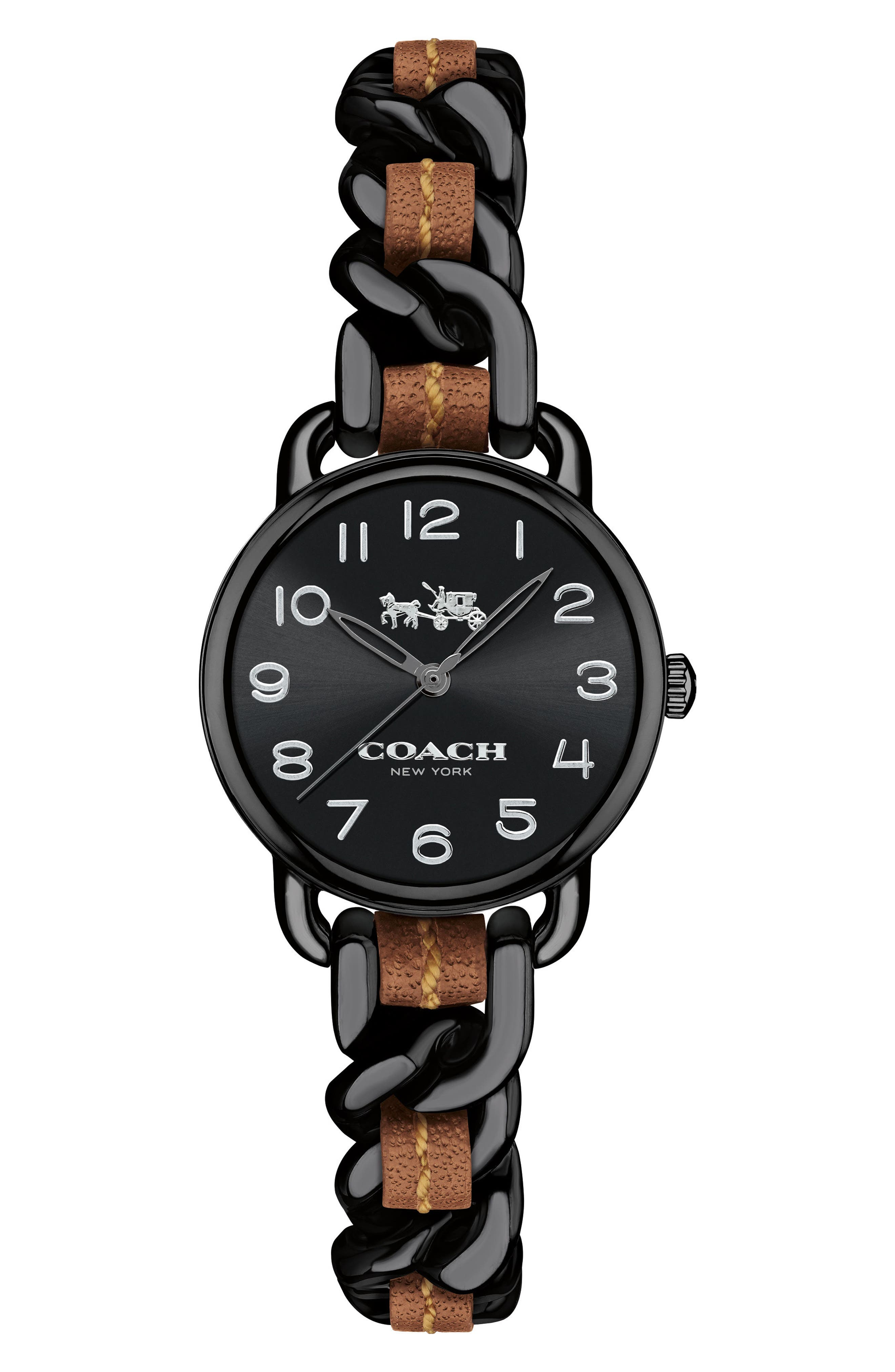 Delancey Leather Chain Watch, 23mm,                             Main thumbnail 1, color,                             002