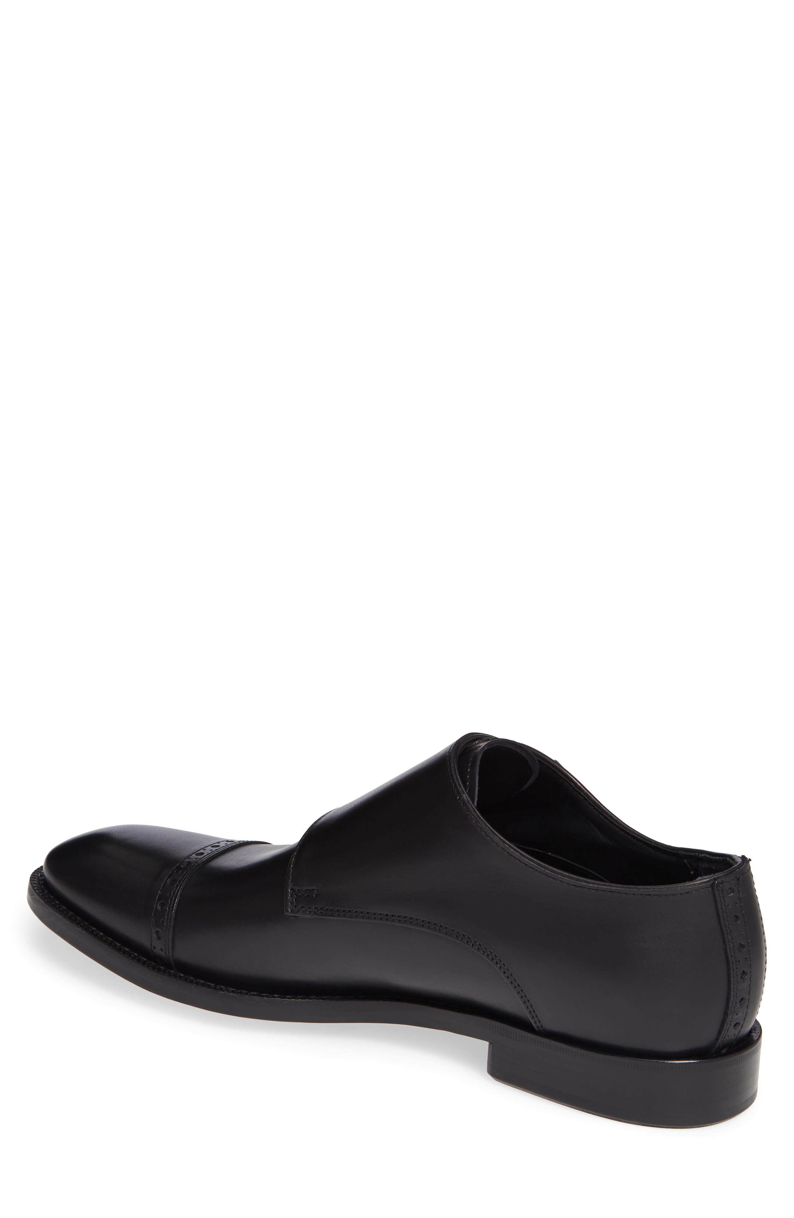 Caravaggio Double Monk Strap Shoe,                             Alternate thumbnail 2, color,                             BLACK LEATHER