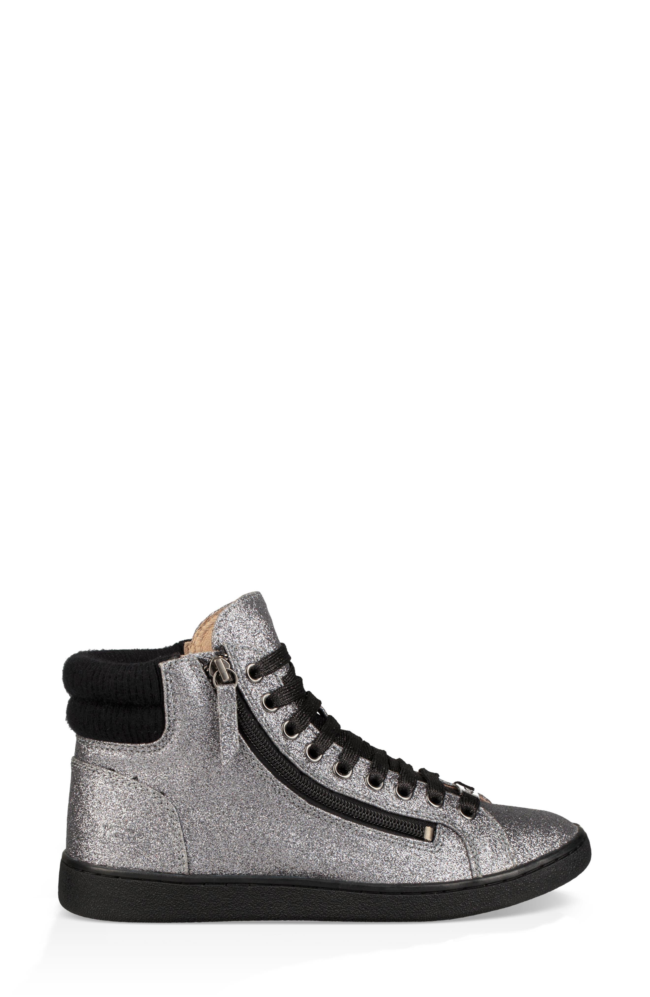 Olive Glitter Sneaker,                             Alternate thumbnail 3, color,                             GUNMETAL FABRIC