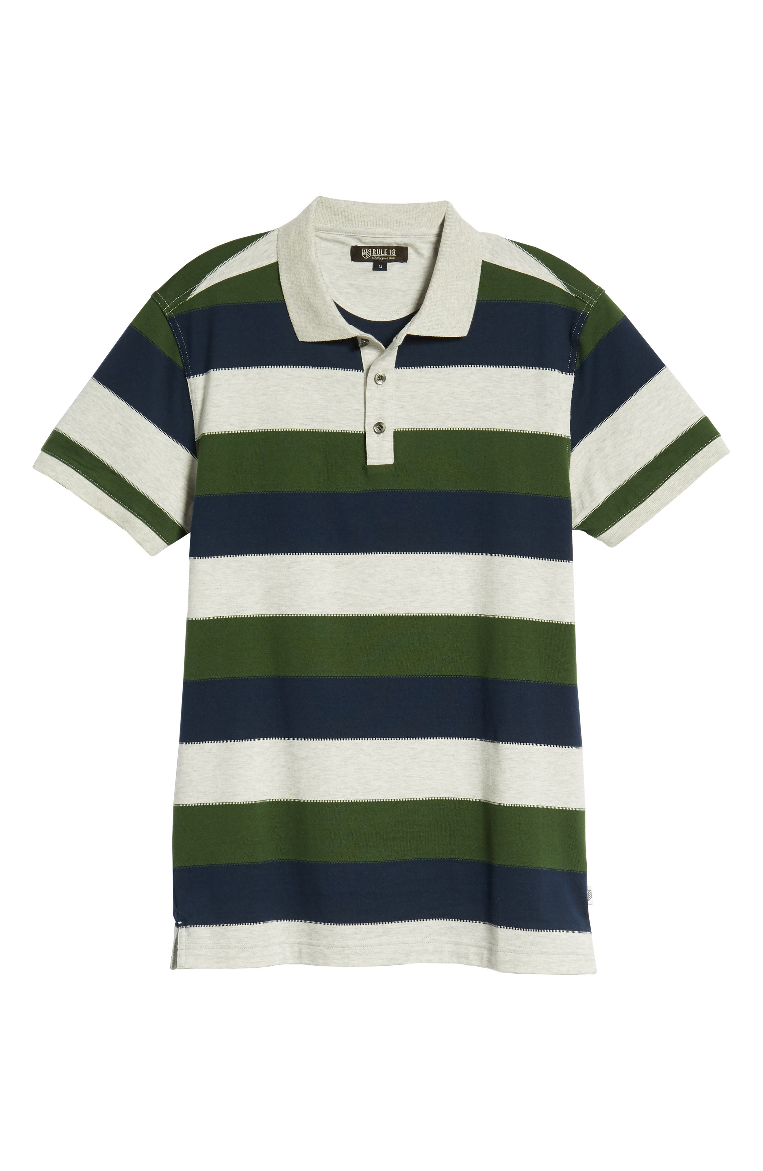 Rule 18 Regular Fit Wide Stripe Polo,                             Alternate thumbnail 6, color,                             020