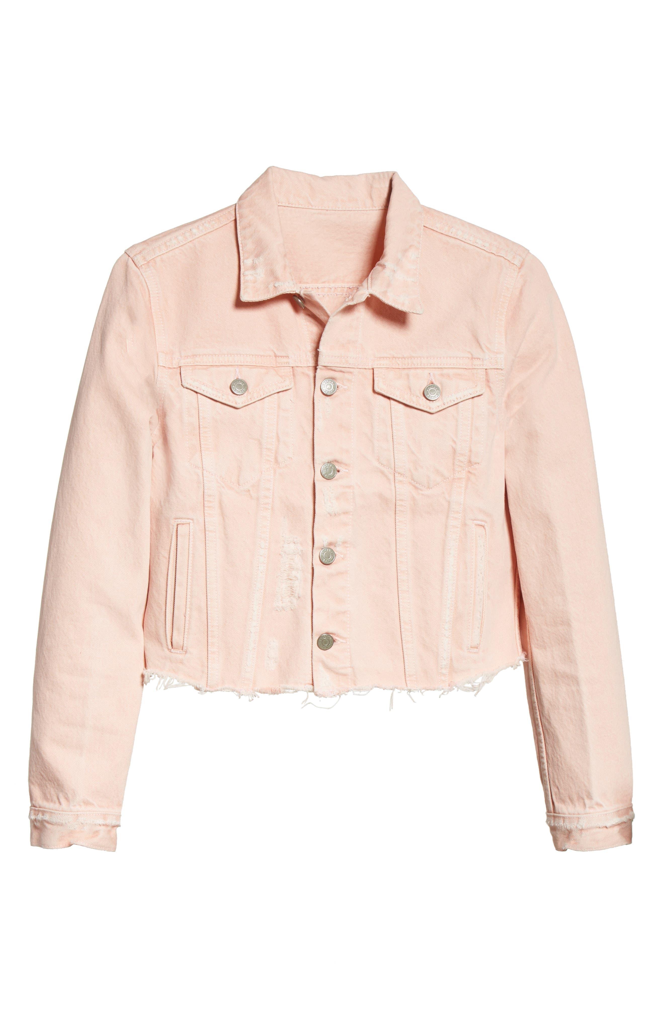 Cara Crop Denim Jacket,                             Alternate thumbnail 5, color,                             660