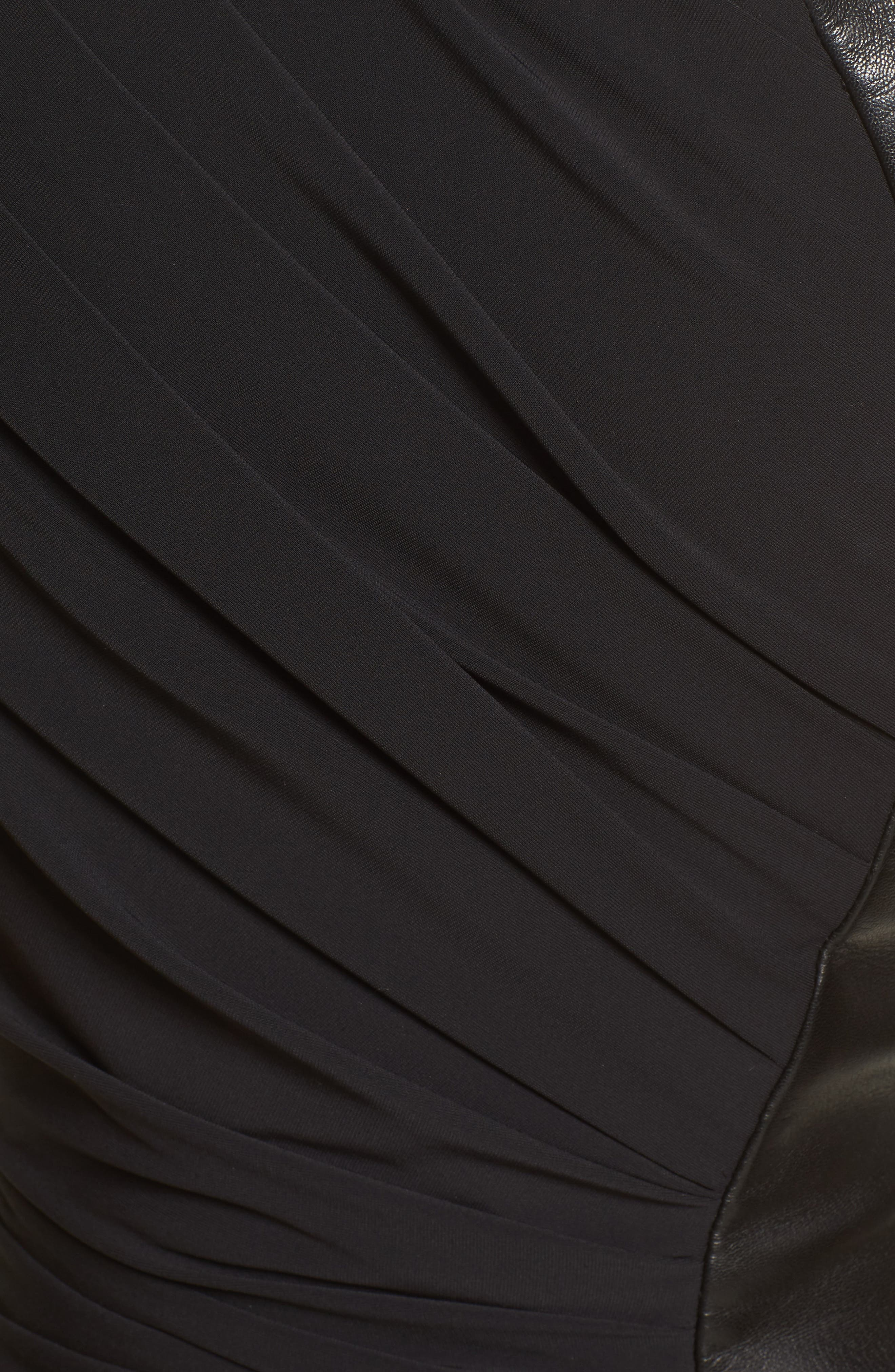 Draped Jersey & Leather Gown,                             Alternate thumbnail 5, color,