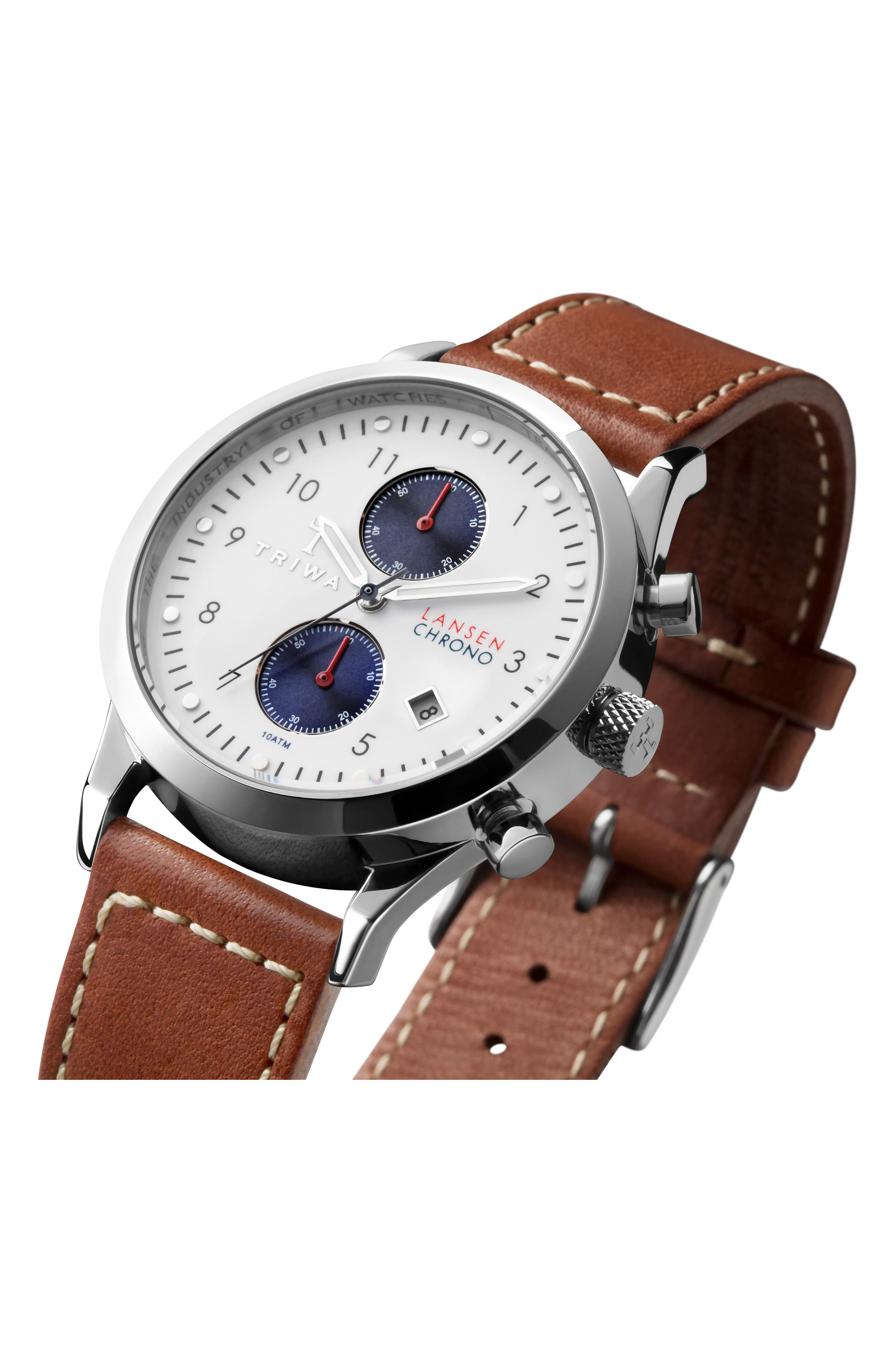 Pacific Lansen Chronograph Leather Strap Watch, 38mm,                             Alternate thumbnail 4, color,