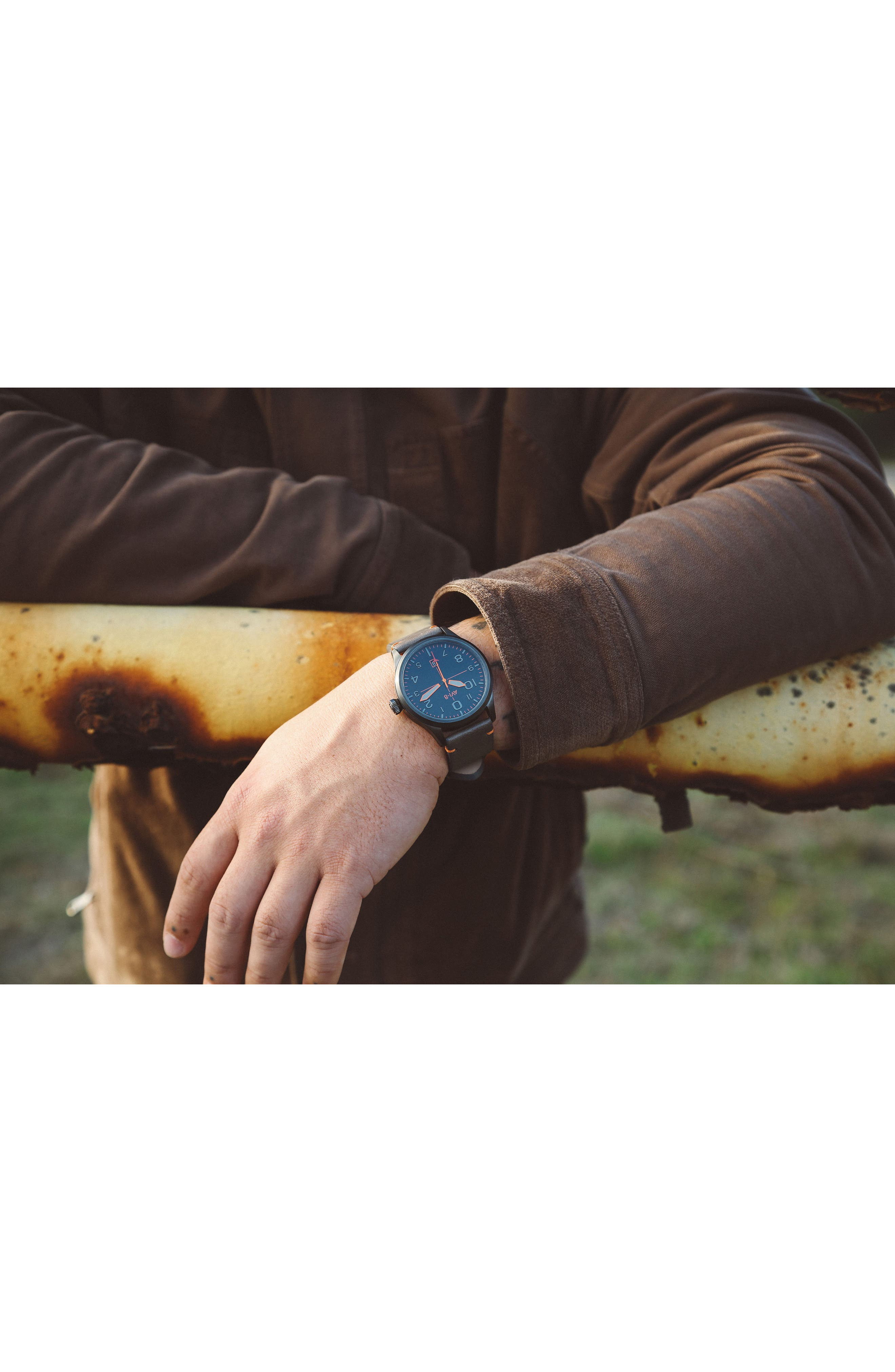 Flyboy Leather Strap Watch, 43mm,                             Alternate thumbnail 5, color,