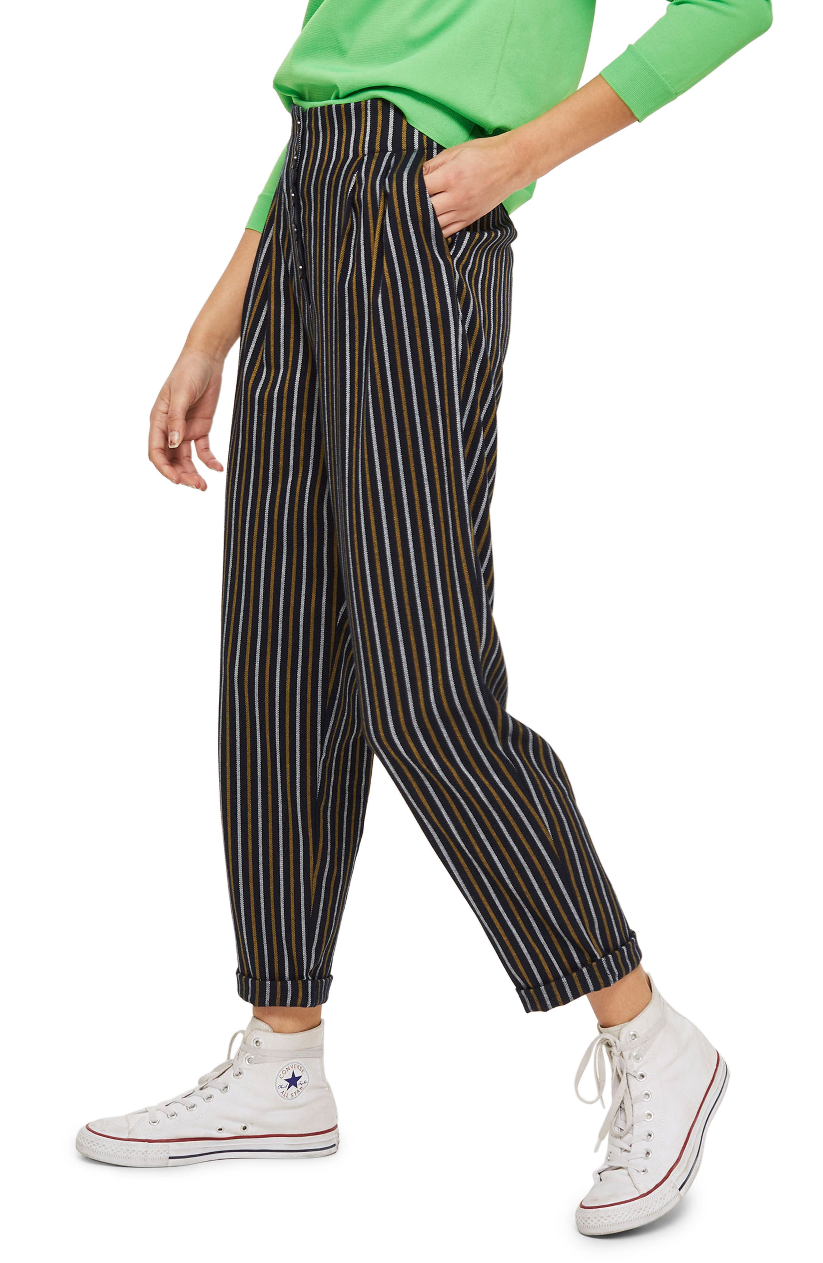 Button Front Stripe Tapered Trousers,                             Alternate thumbnail 6, color,