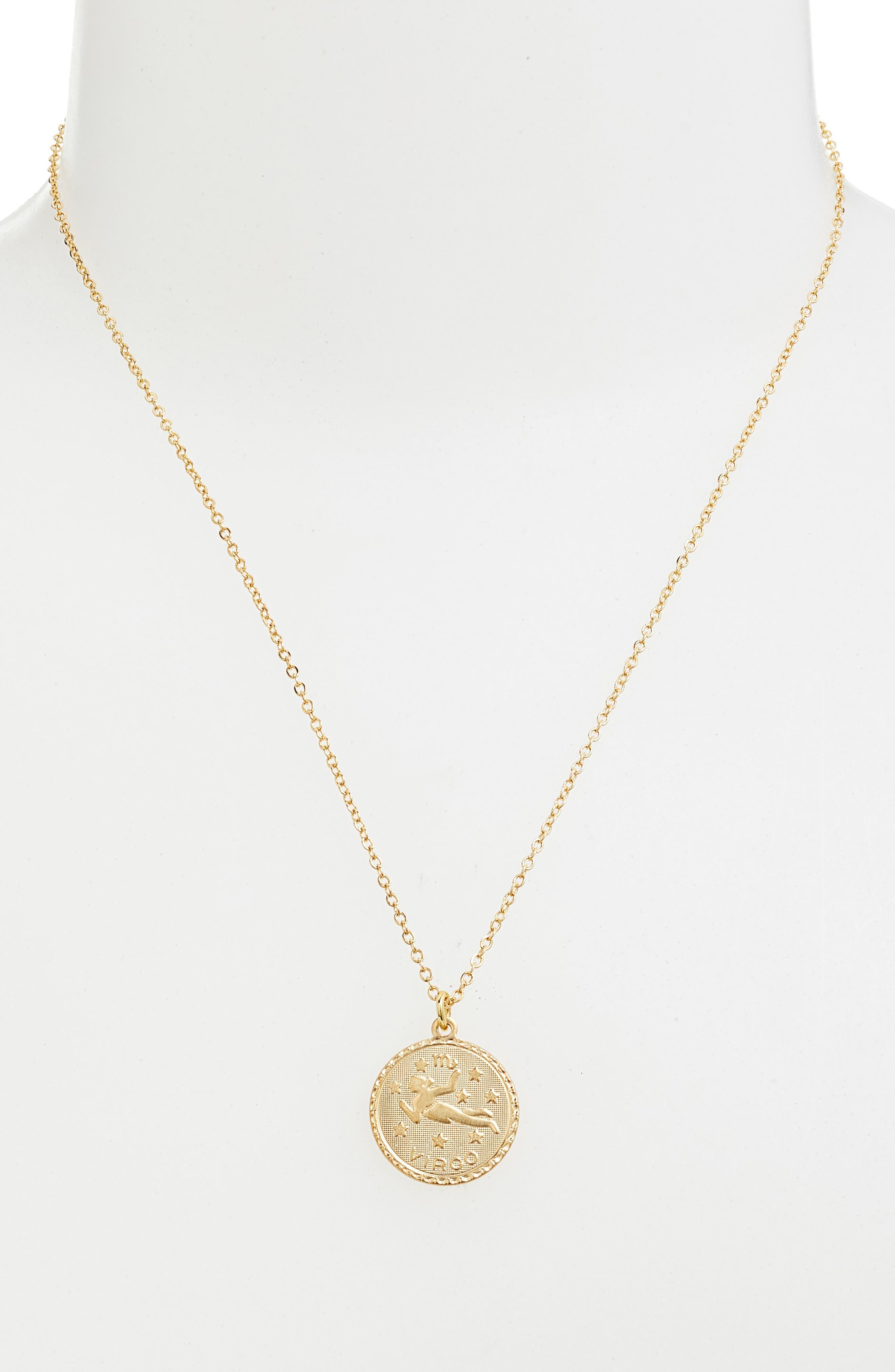 Zodiac Coin Pendant Necklace,                             Alternate thumbnail 2, color,                             GOLD-VIRGO