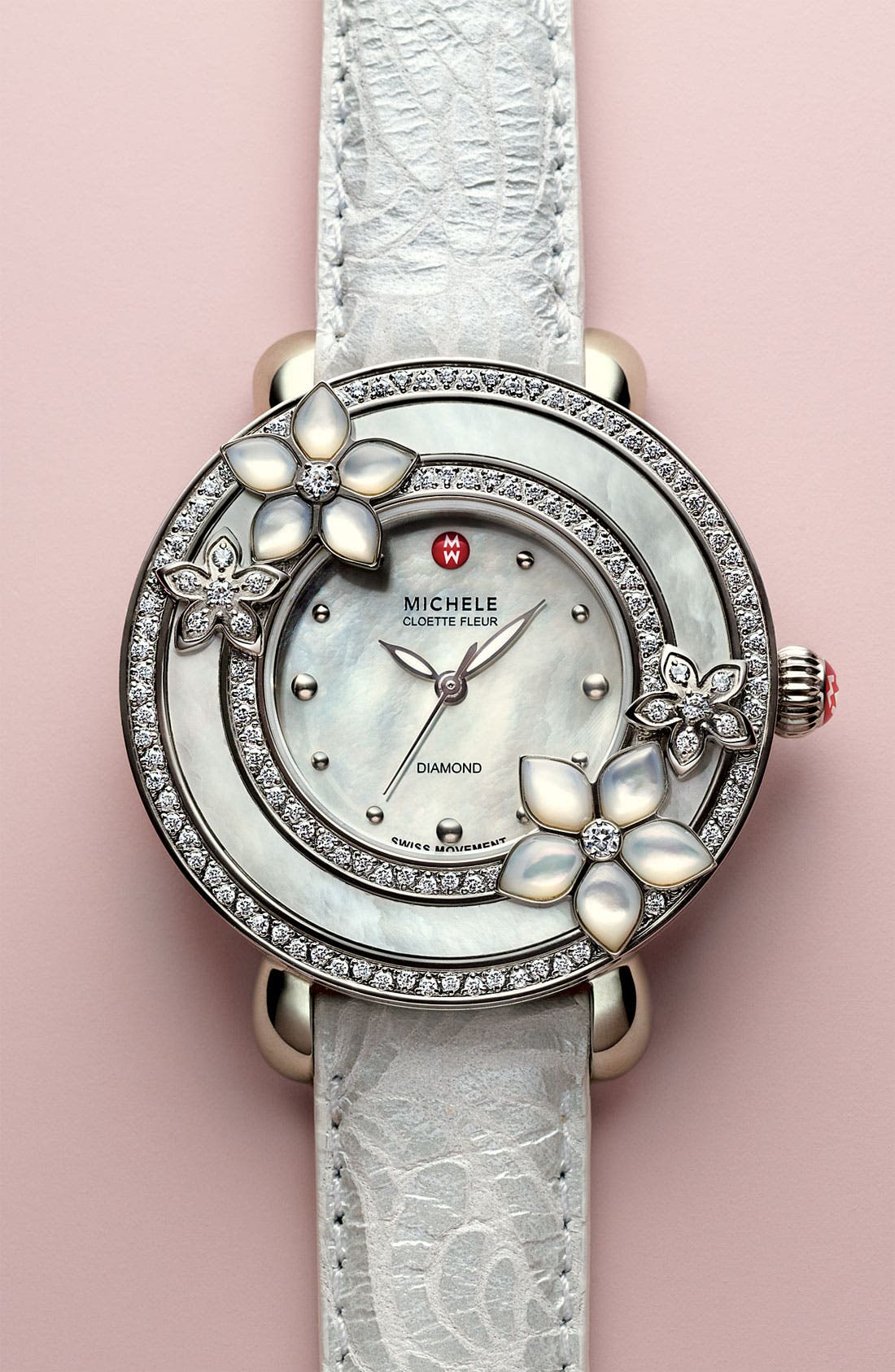 'Cloette Fleur' Diamond & Mother-of-Pearl Watch Case, 38mm,                             Alternate thumbnail 4, color,                             040