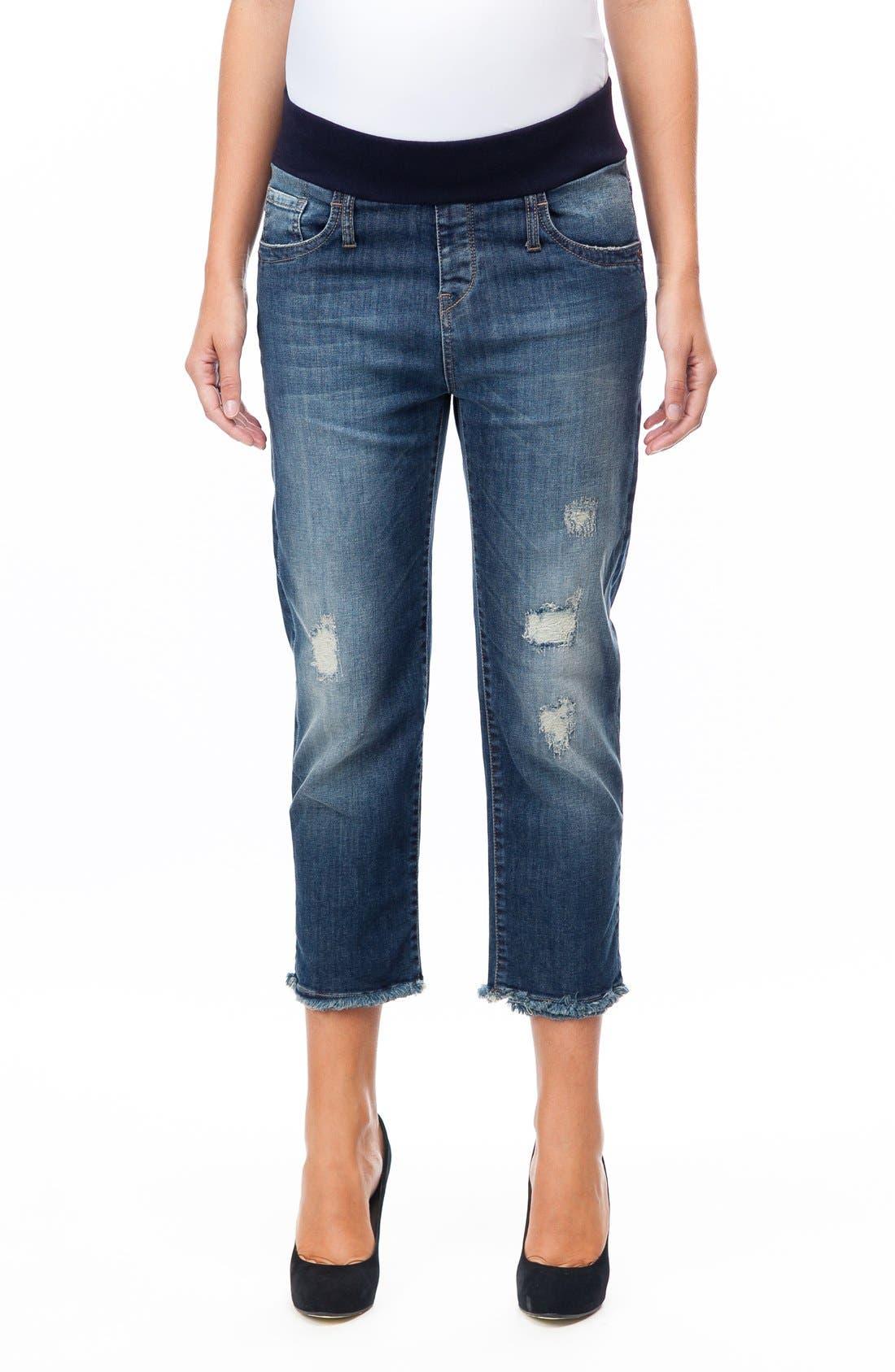 Distressed Crop Boyfriend Maternity Jeans,                         Main,                         color,