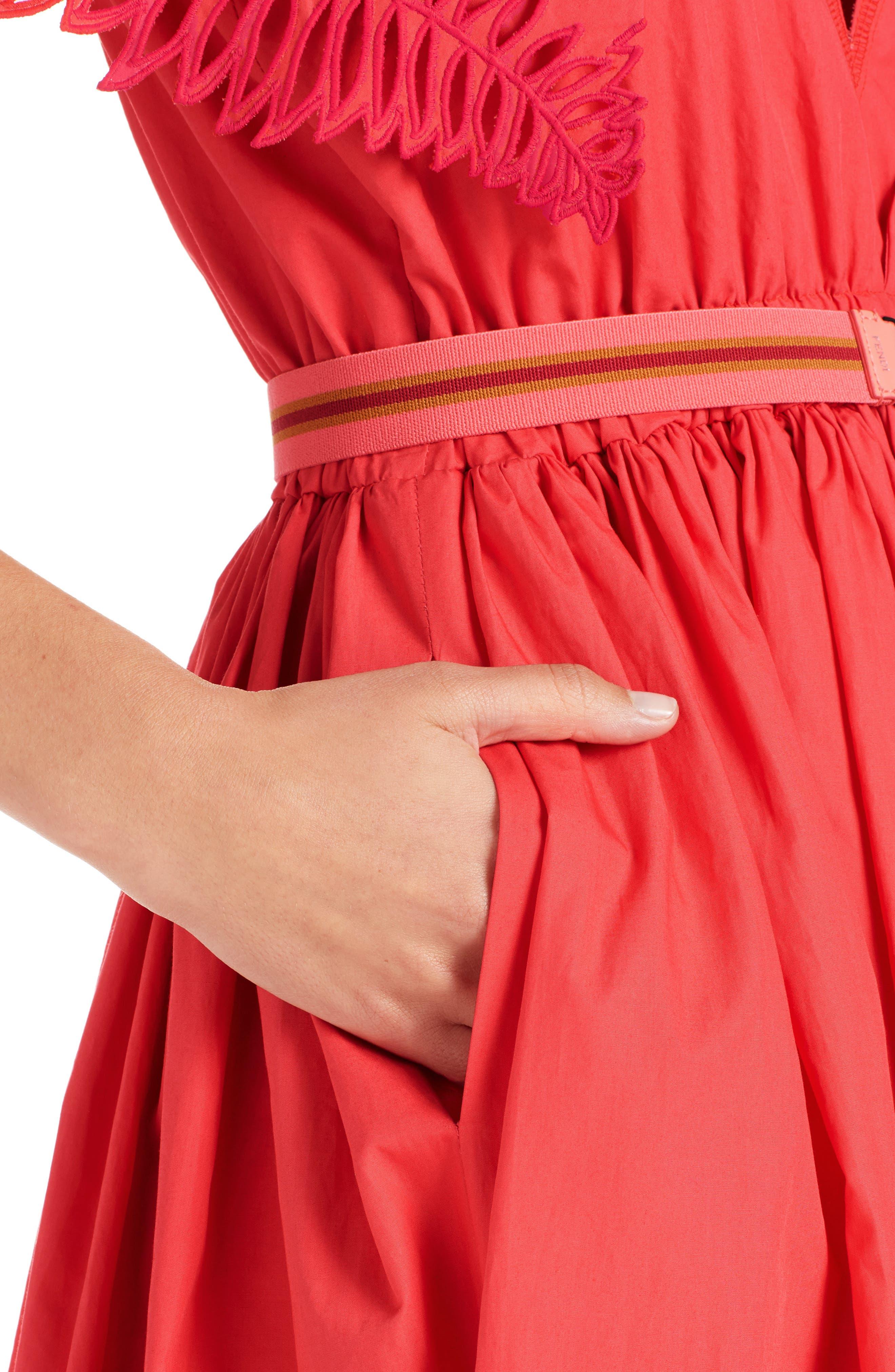 Cold Shoulder Taffeta Midi Dress,                             Alternate thumbnail 4, color,                             616
