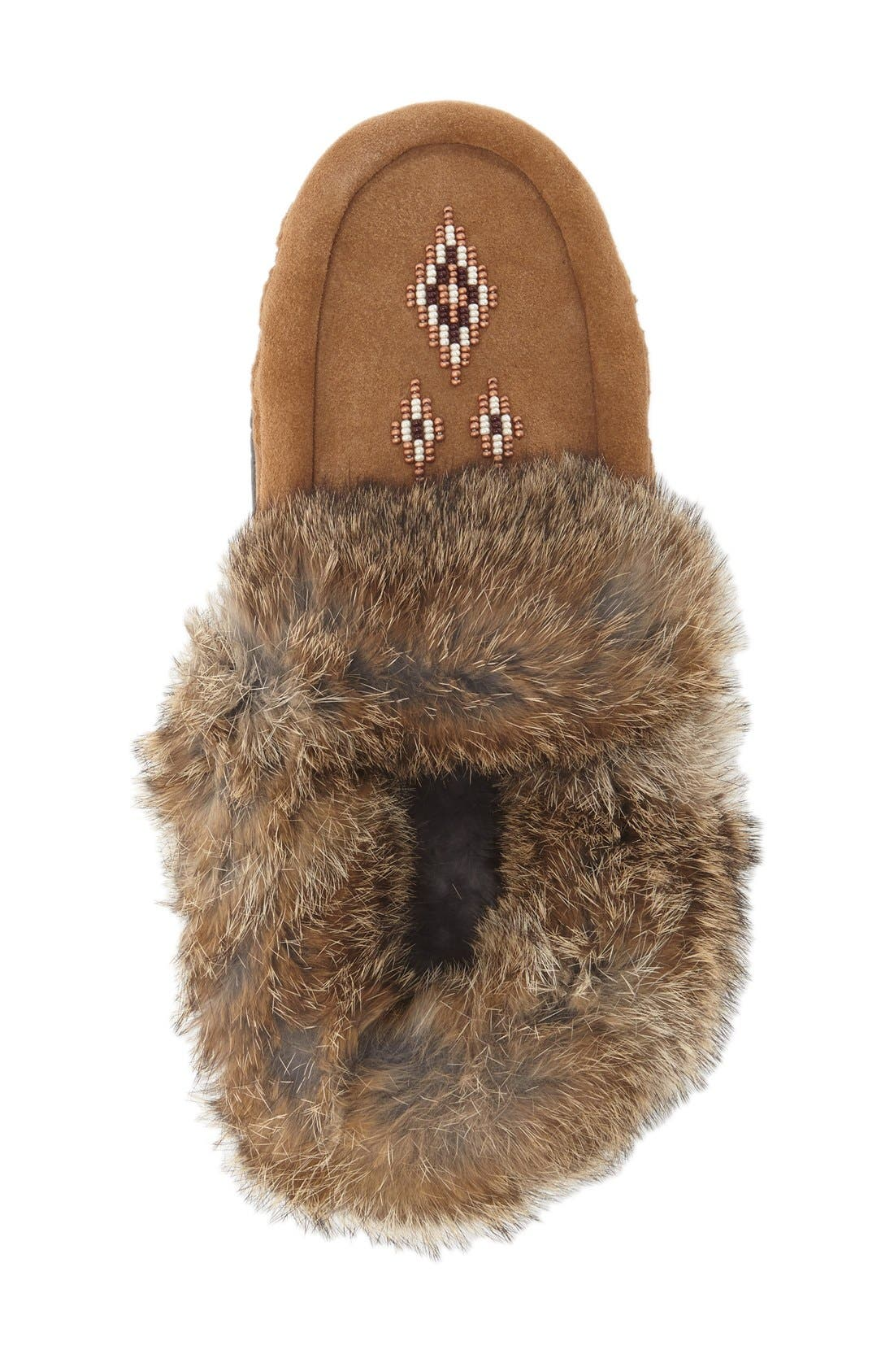 Genuine Shearling and Rabbit Fur Mukluk Slipper,                             Alternate thumbnail 4, color,                             OAK RABBIT FUR SUEDE