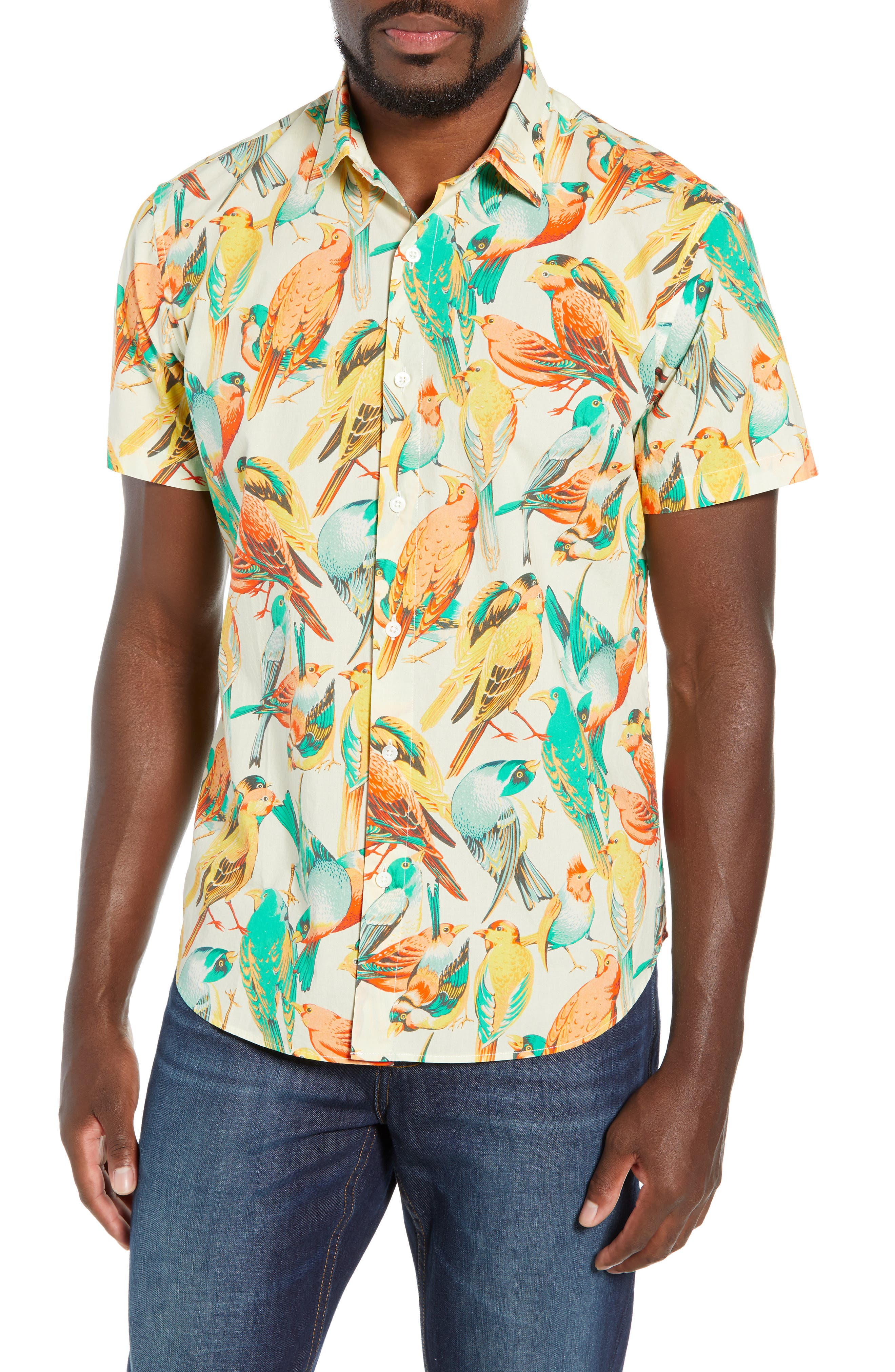 Premium Slim Fit Bird Print Sport Shirt,                             Main thumbnail 1, color,                             700