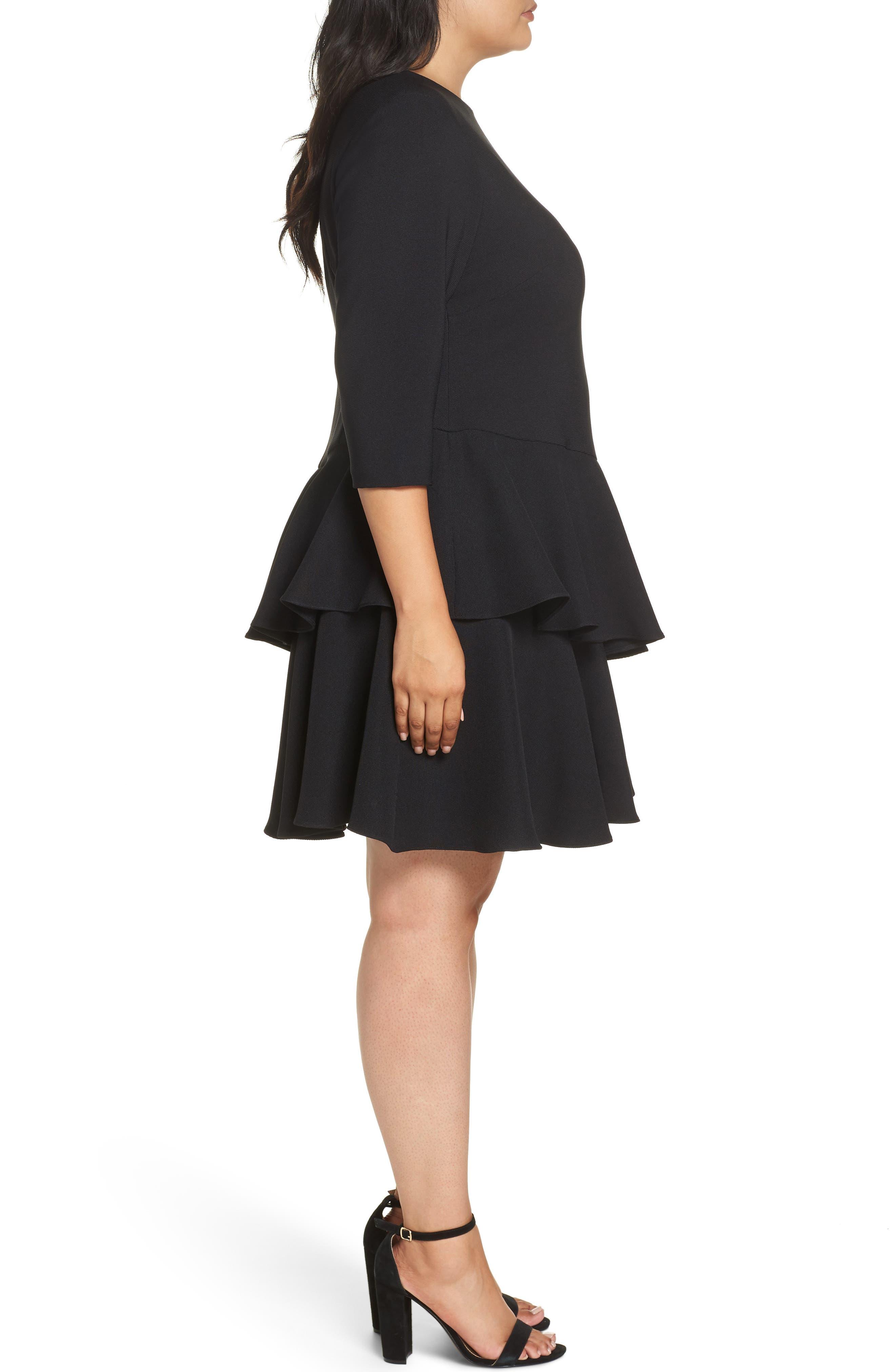 Ruffle Tiered Shift Dress,                             Alternate thumbnail 3, color,                             BLACK