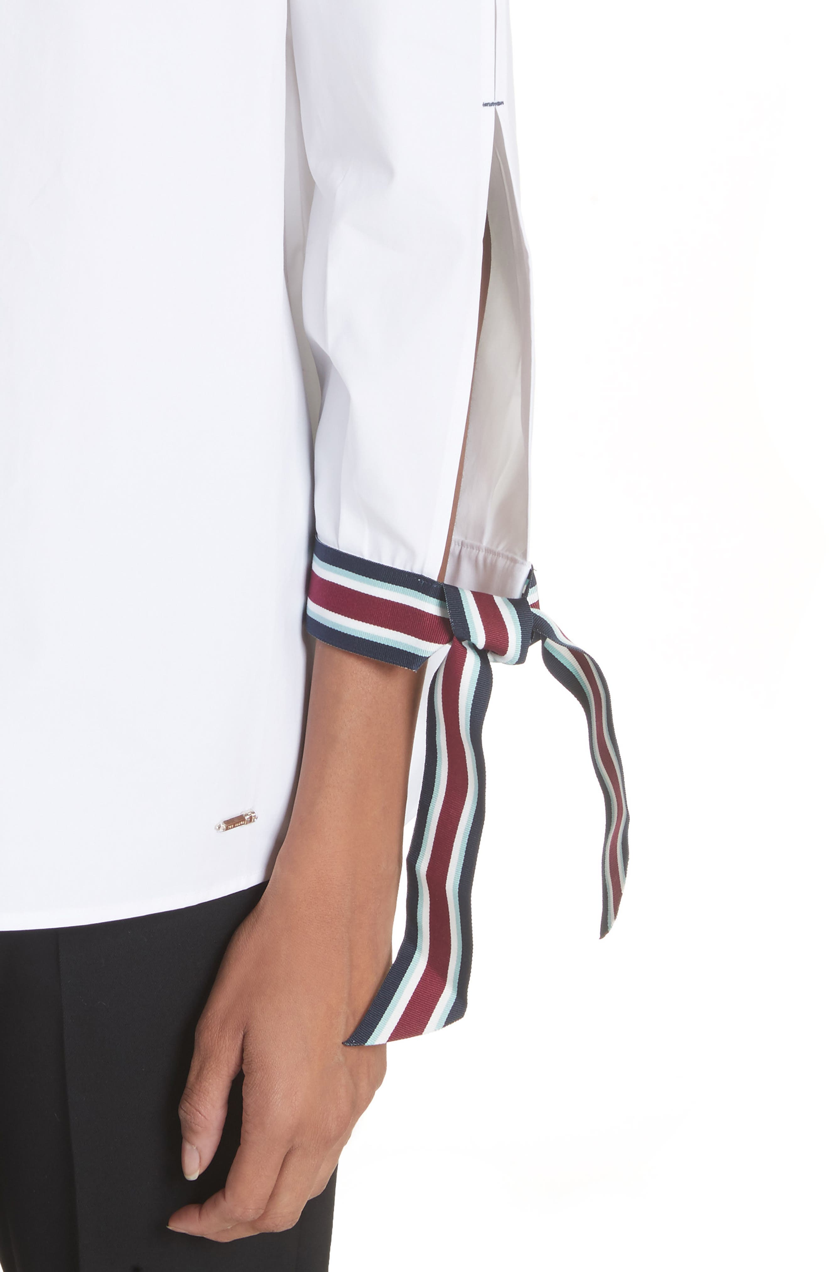 Tie Sleeve Cotton Top,                             Alternate thumbnail 4, color,                             110