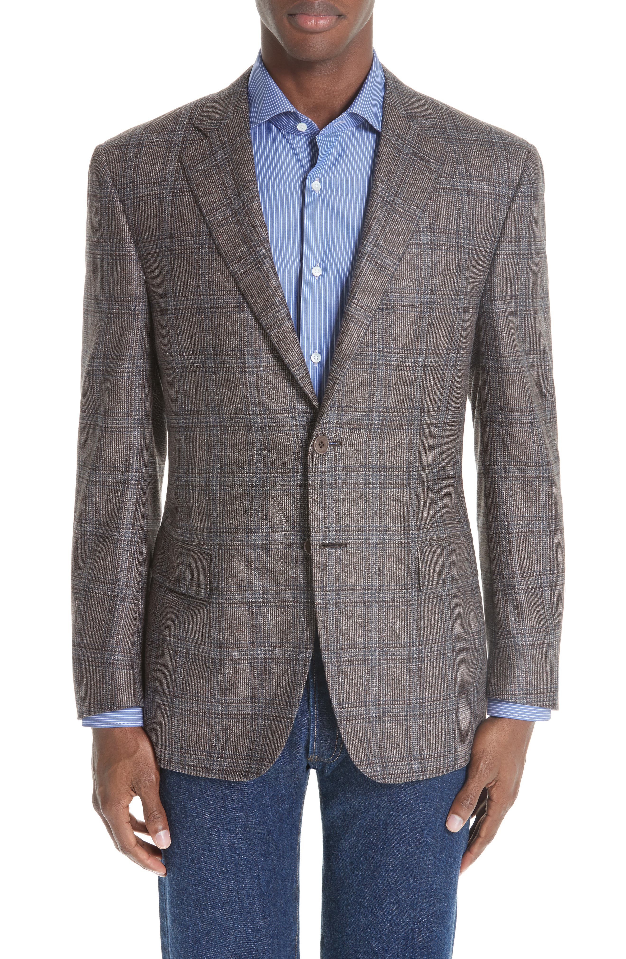 Classic Fit Plaid Silk & Wool Sport Coat,                         Main,                         color, MED BROWN