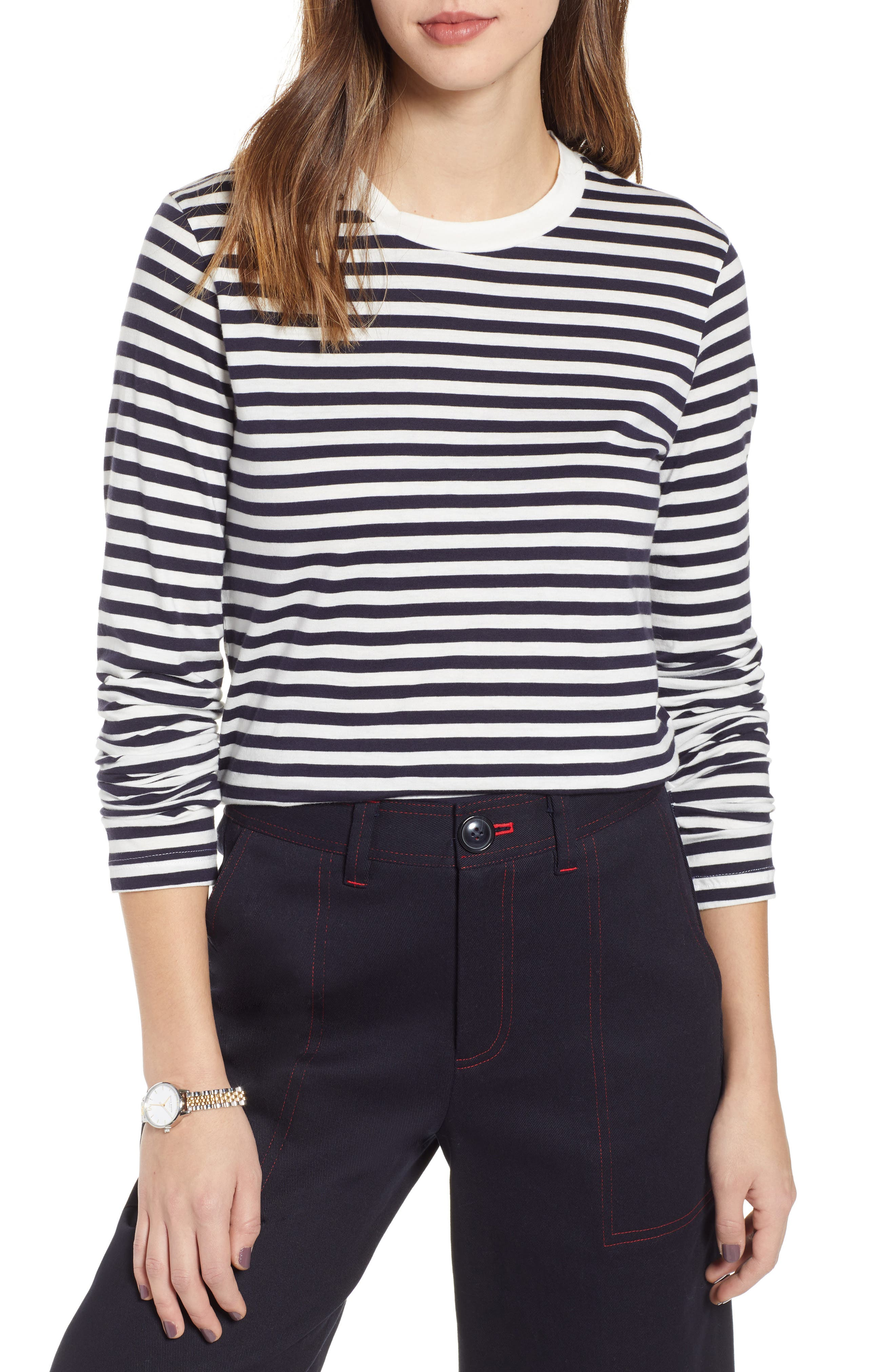 1901 Stripe Tee, Main, color, NAVY- IVORY STRIPE