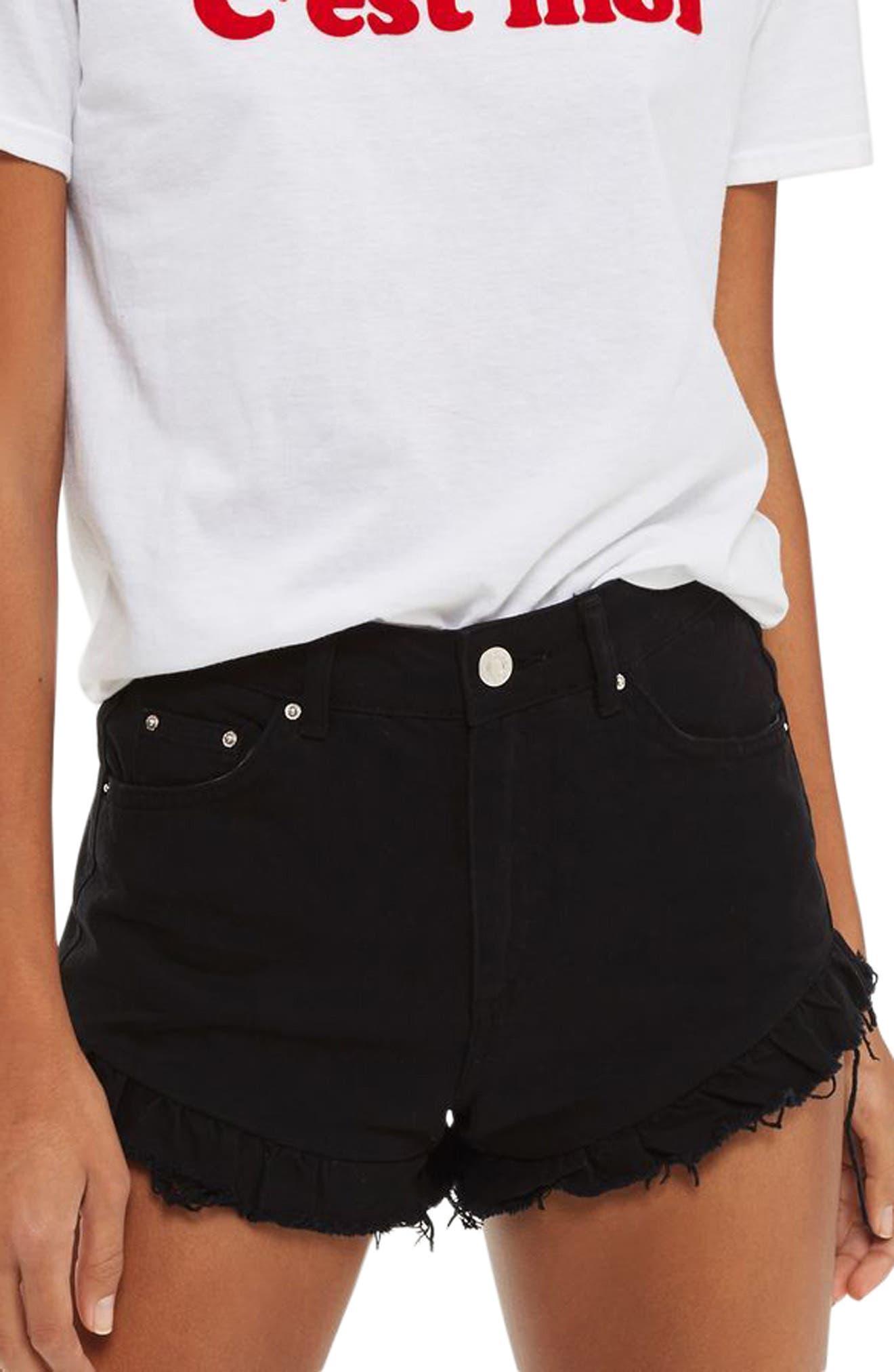 Kiri Ruffle Hem Denim Shorts,                         Main,                         color, 001