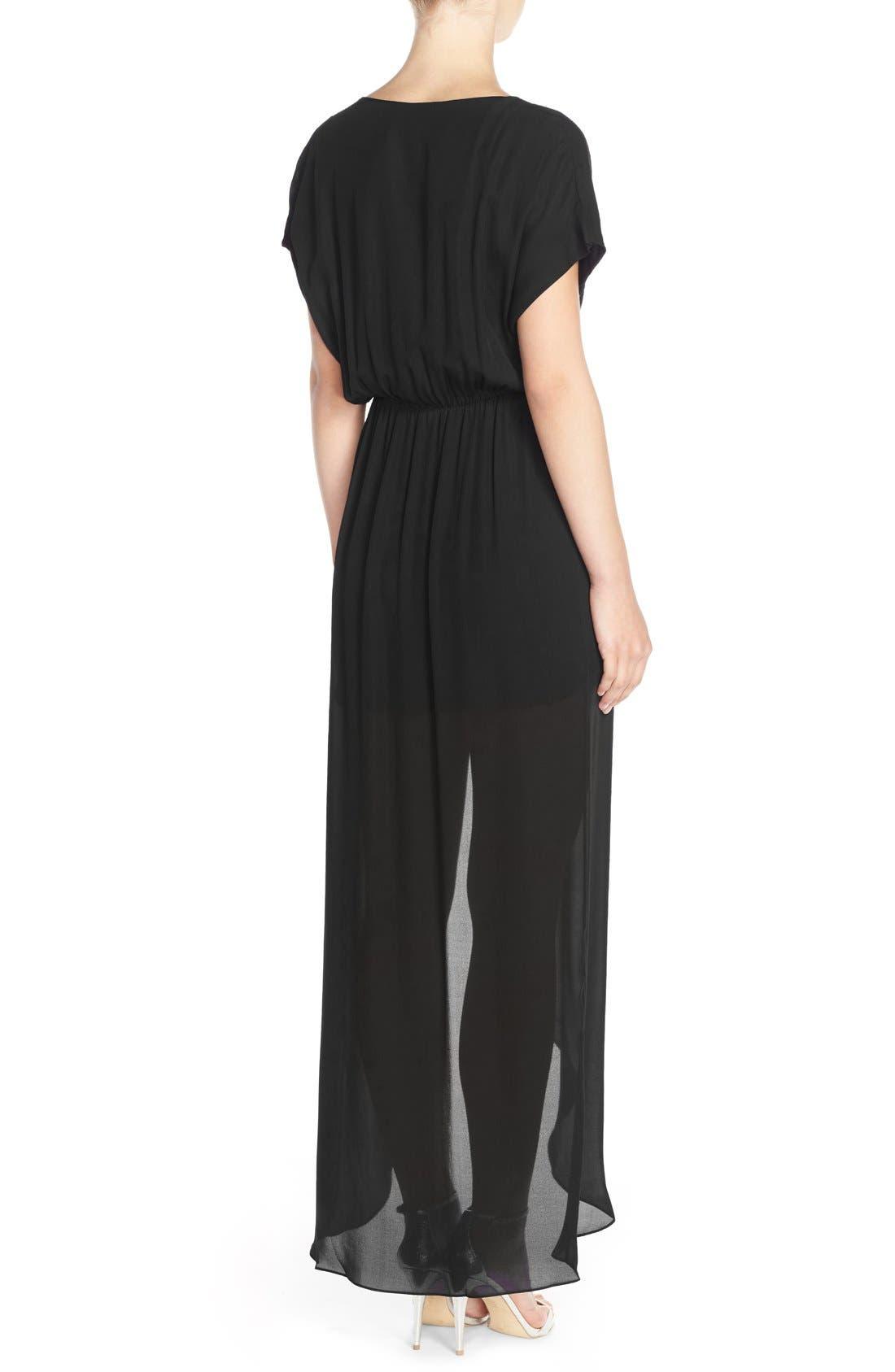 'Plaza' Faux Wrap Silk Georgette Cutaway Gown,                             Alternate thumbnail 2, color,                             001