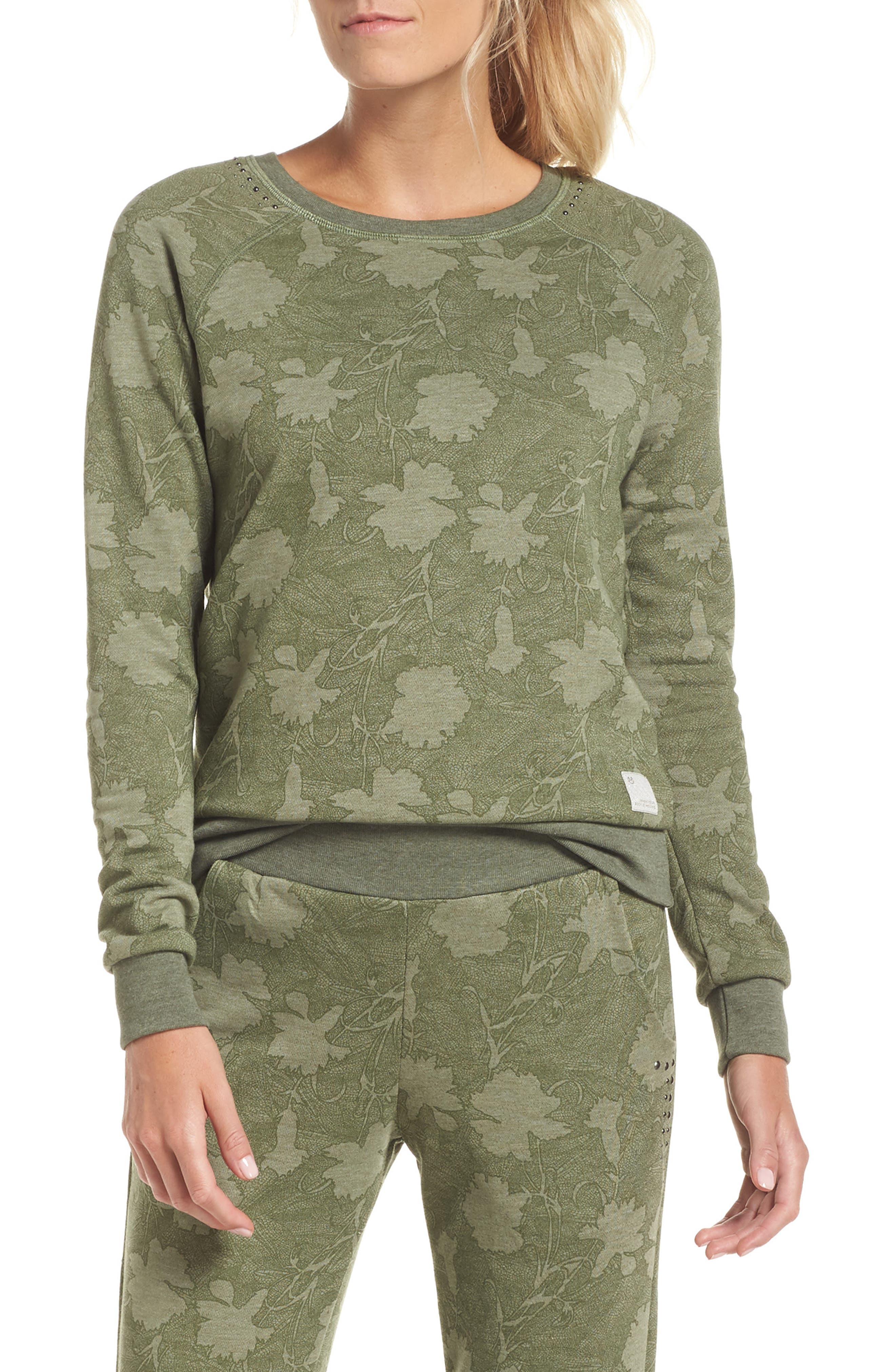 Sleek Leaf Kale Sweatshirt,                         Main,                         color, GREEN