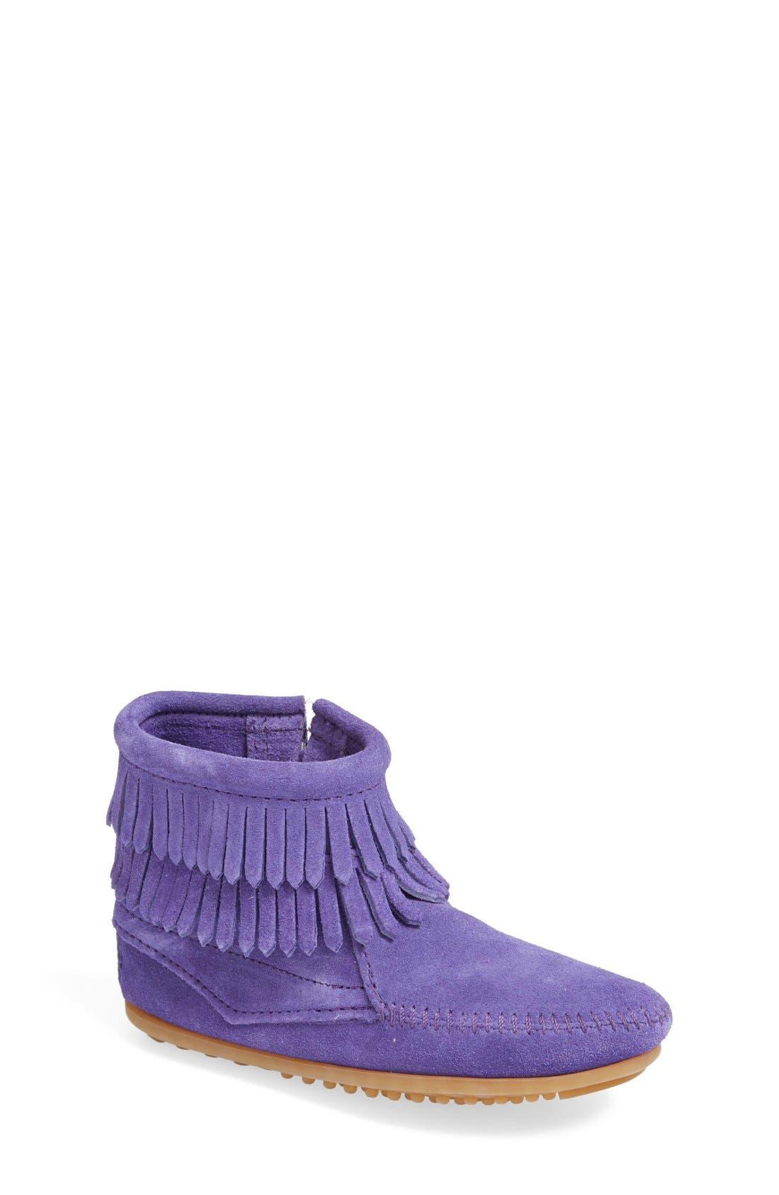 Toddler Girls Minnetonka Double Fringe Boot Size 9 M  Purple