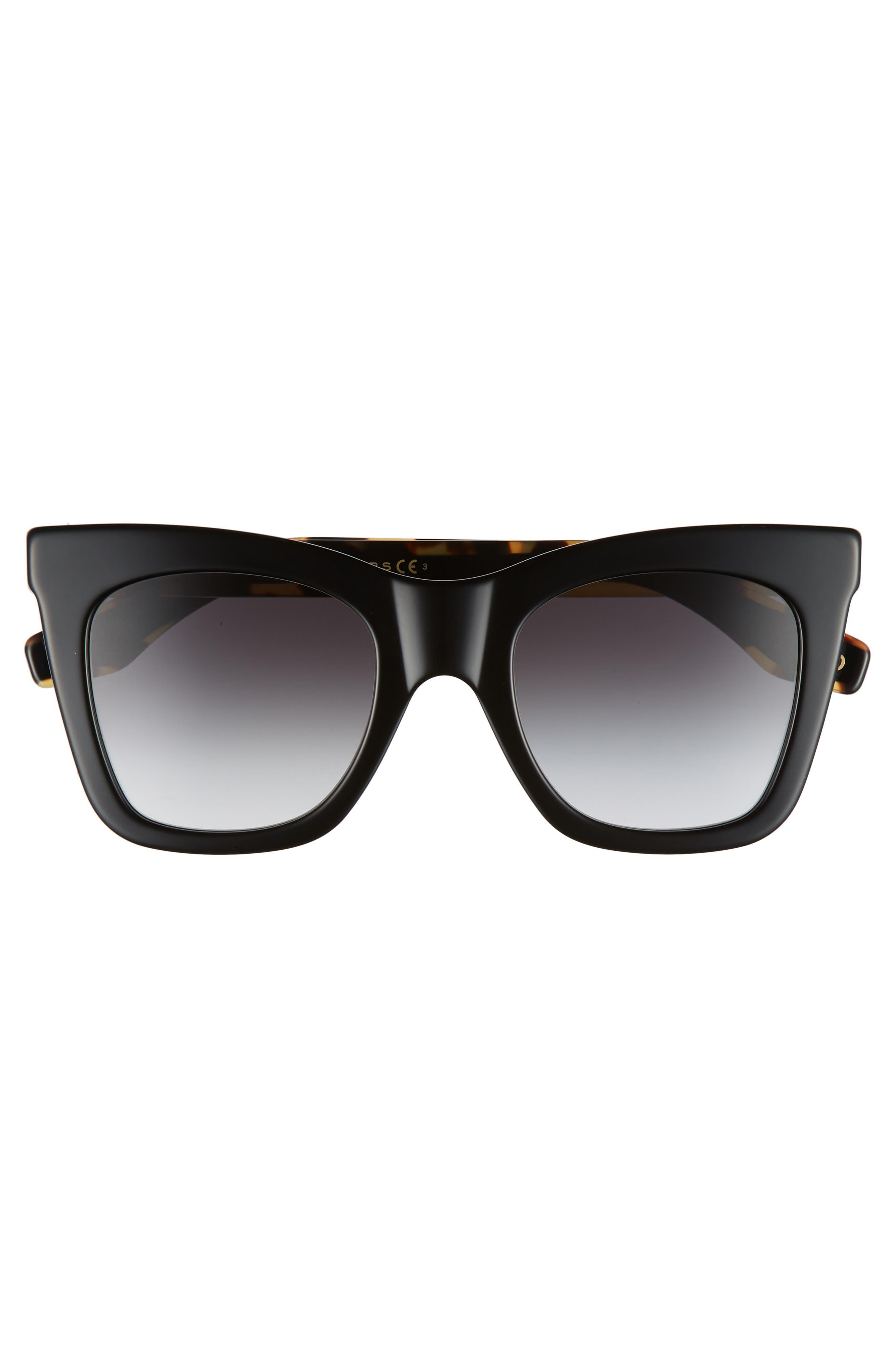 50mm Cat Eye Sunglasses,                             Alternate thumbnail 3, color,                             BLACK