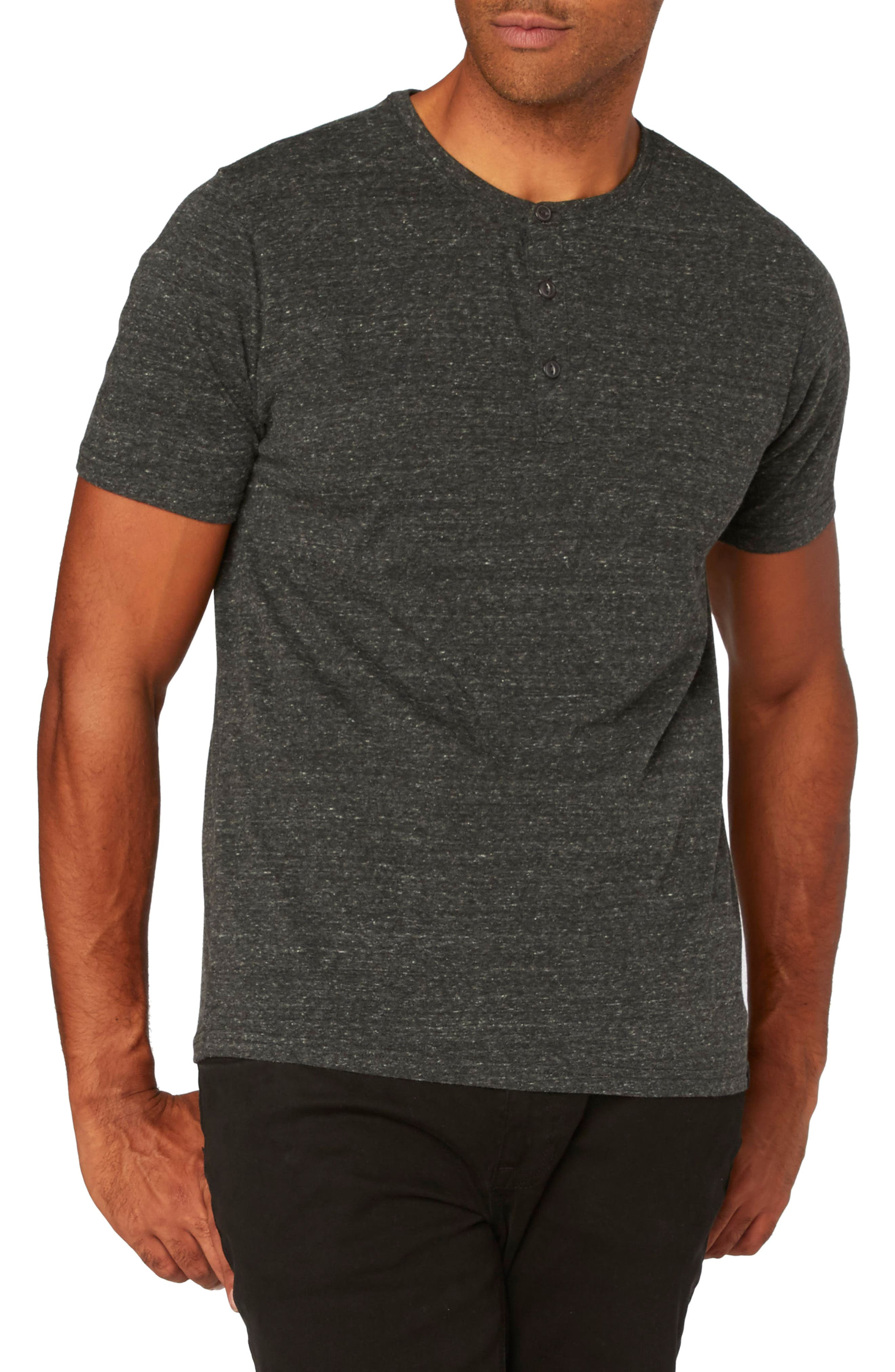 Threads for Thought Henley,                         Main,                         color, HEATHER BLACK