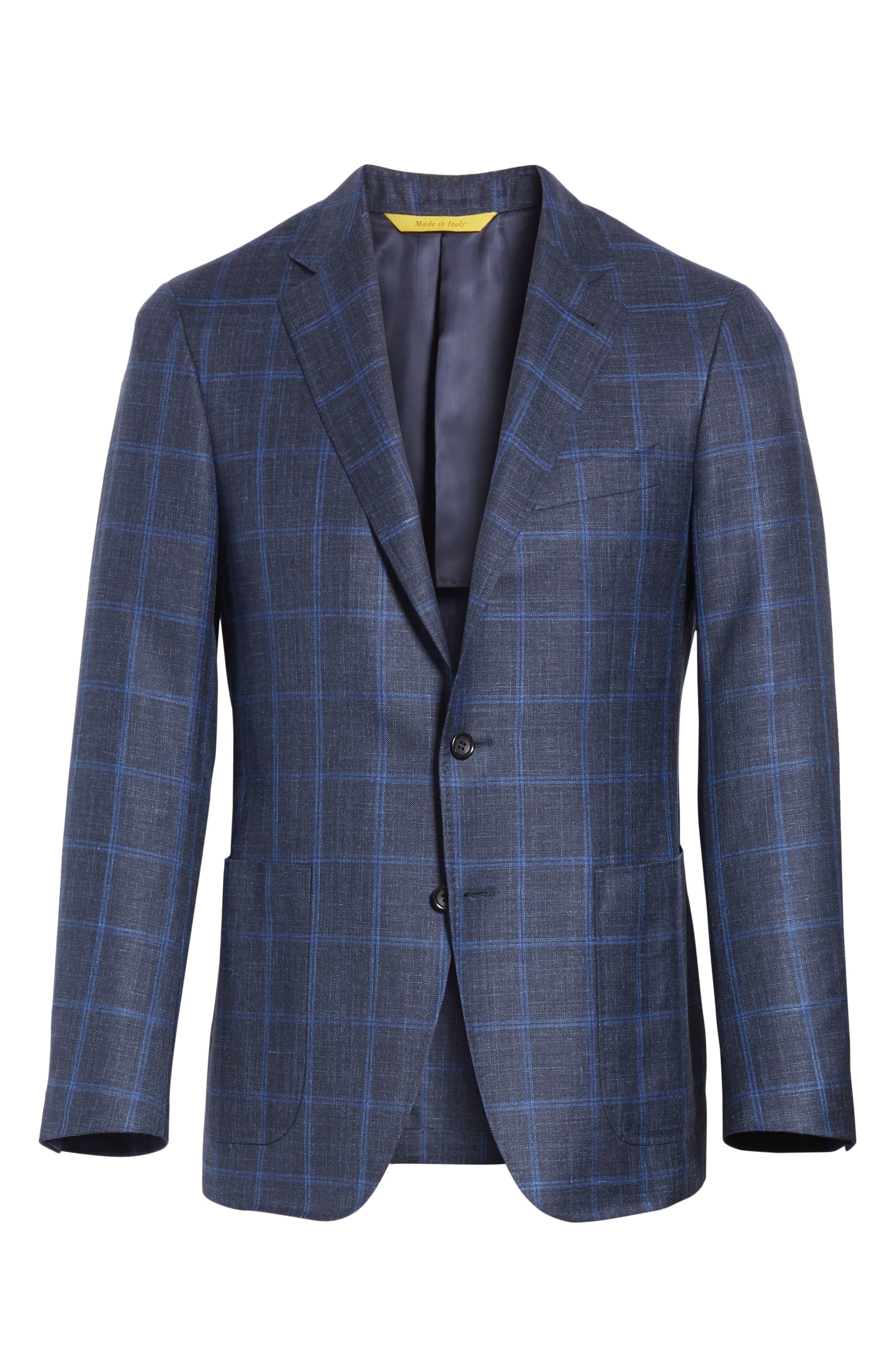 Classic Fit Wool Blend Windowpane Sport Coat,                             Alternate thumbnail 5, color,
