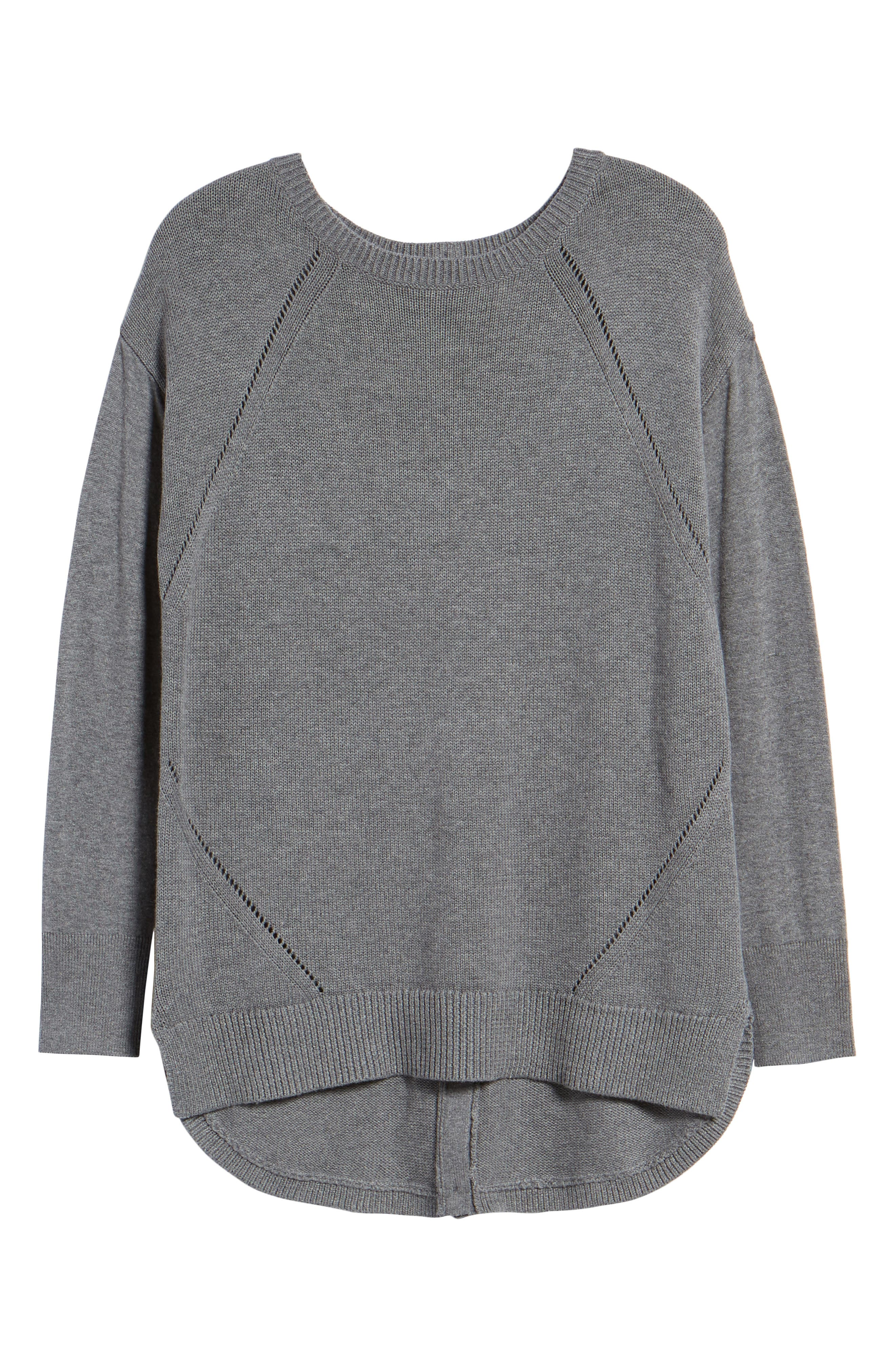 Button Back Tunic Sweater,                             Alternate thumbnail 6, color,                             GREY DARK HEATHER